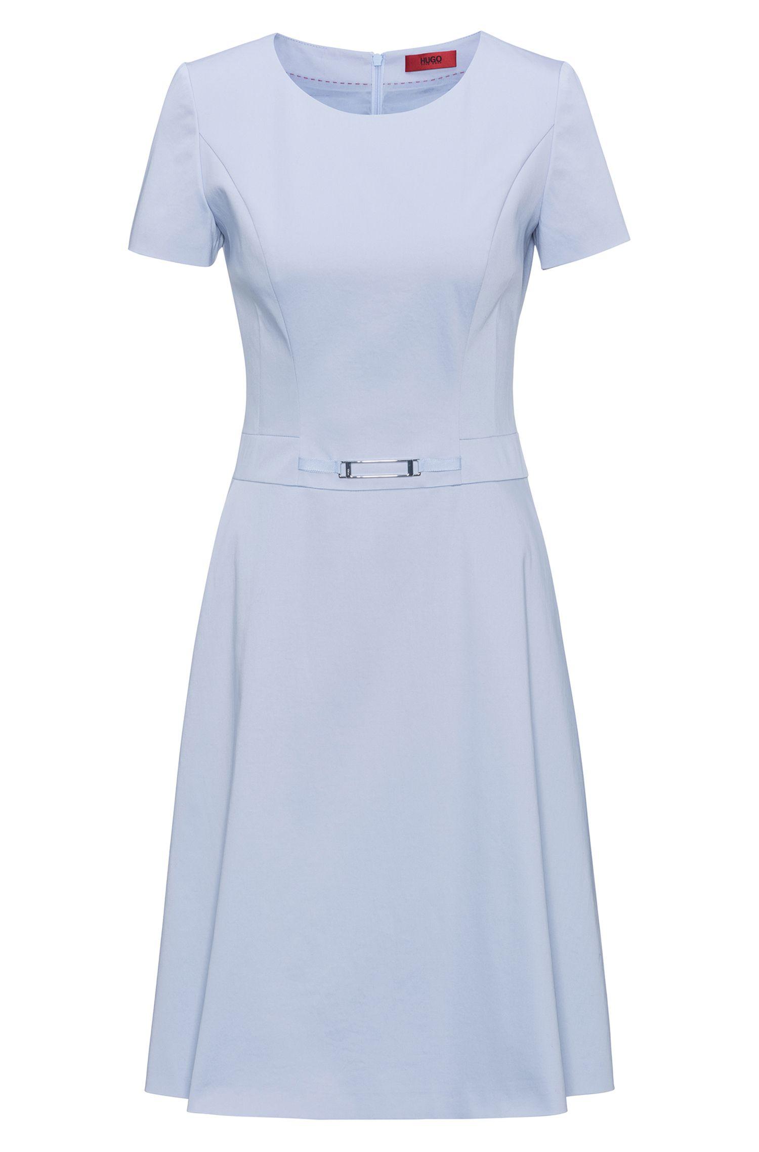 A-Linien-Kleid aus Stretch-Baumwolle mit verzierter Taille
