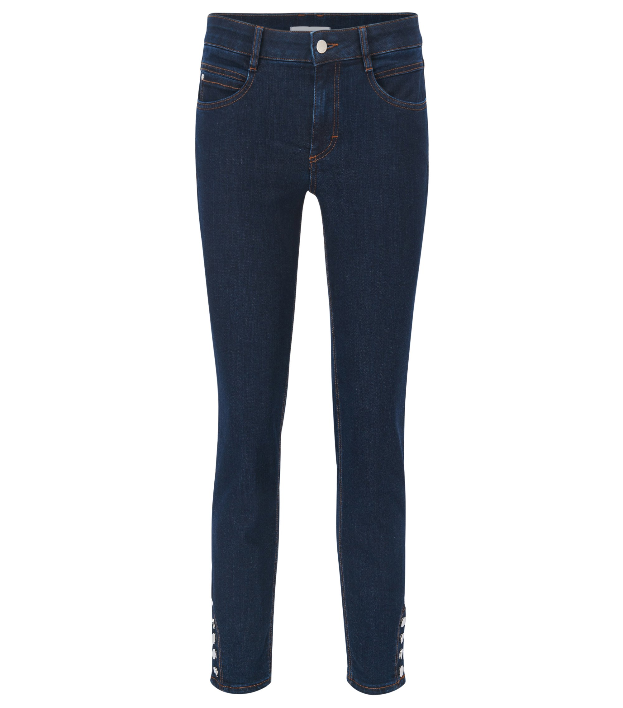 Regular-fit stretch-denim jeans with buttoned hems, Dark Blue