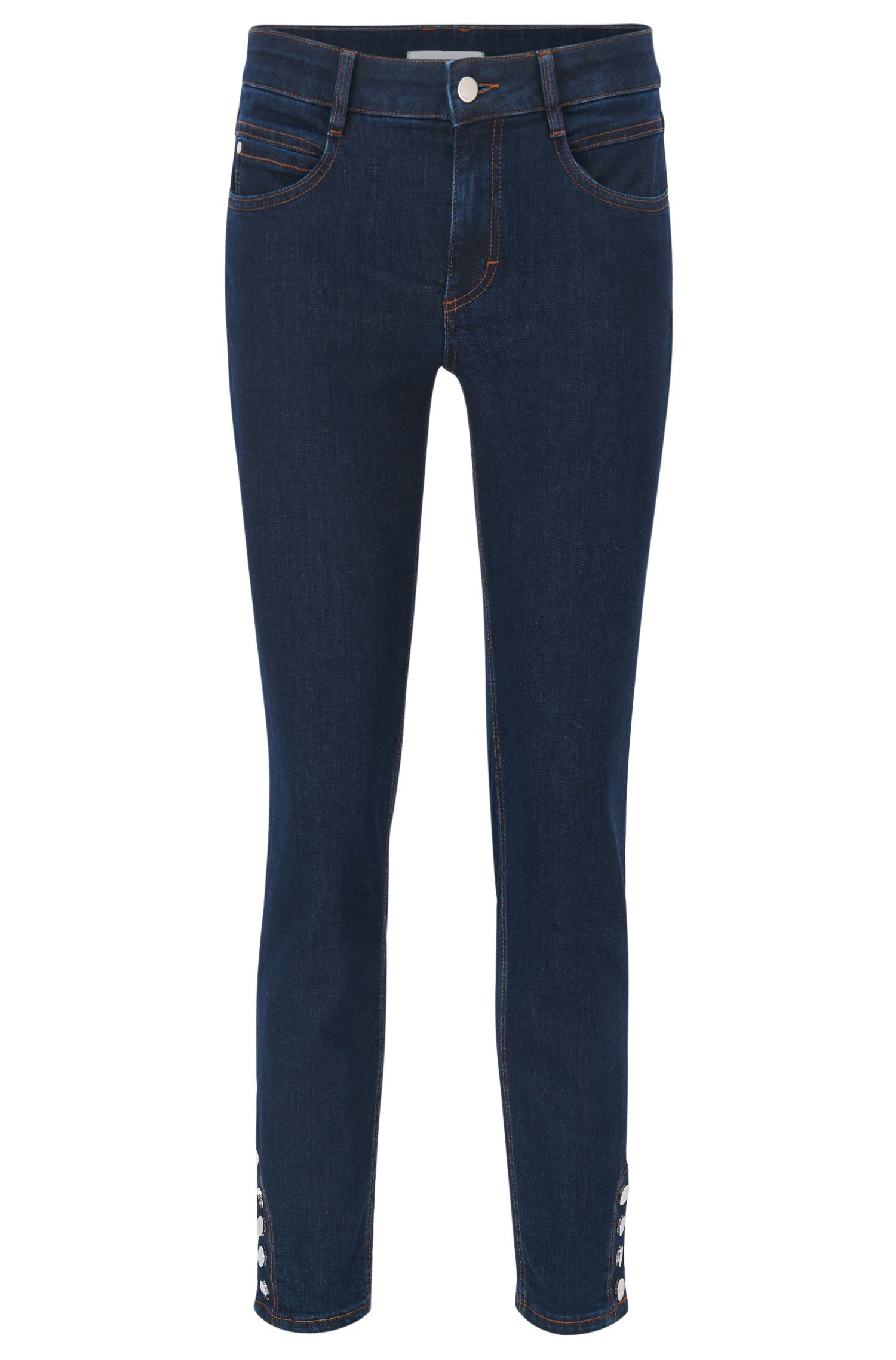 Regular-fit stretch-denim jeans with buttoned hems