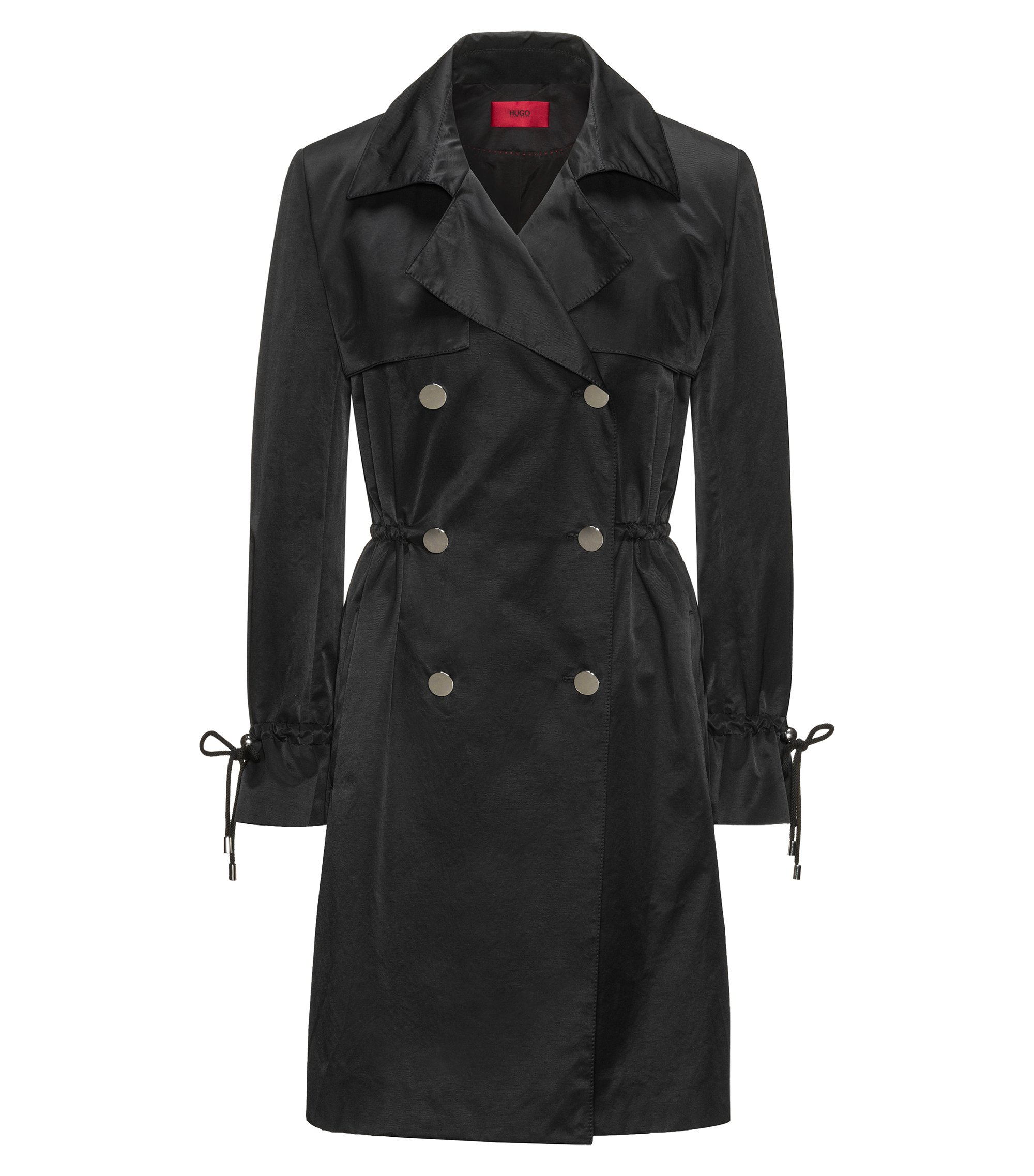 Water-repellent cotton-blend trench coat with drawstring sleeves, Black
