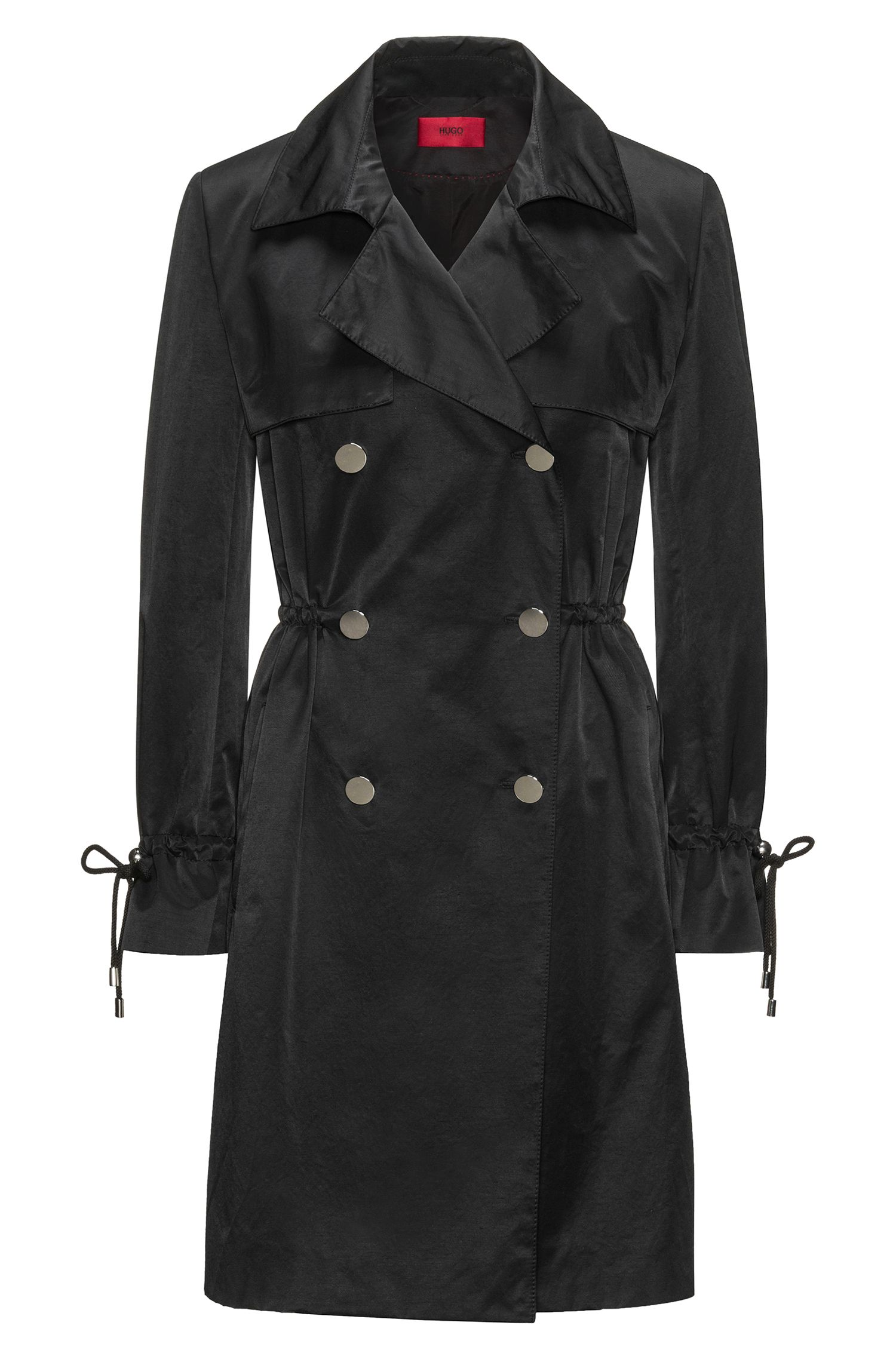 Water-repellent cotton-blend trench coat with drawstring sleeves