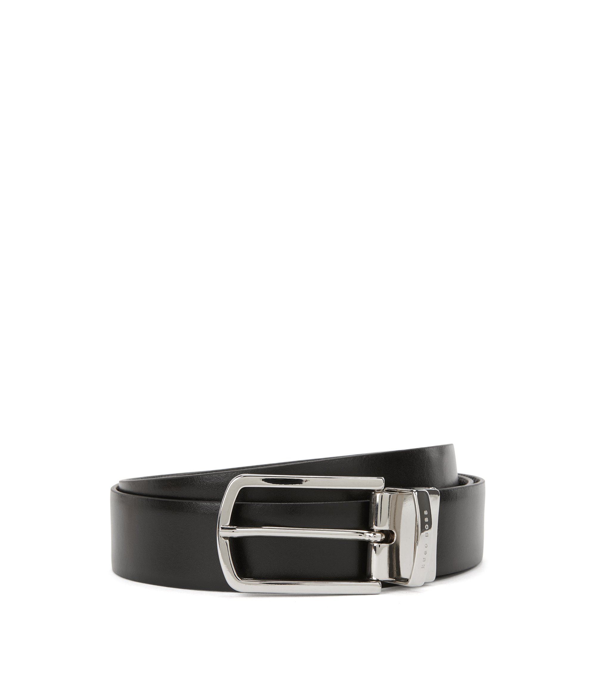 Reversible belt in smooth and structured leather, Black