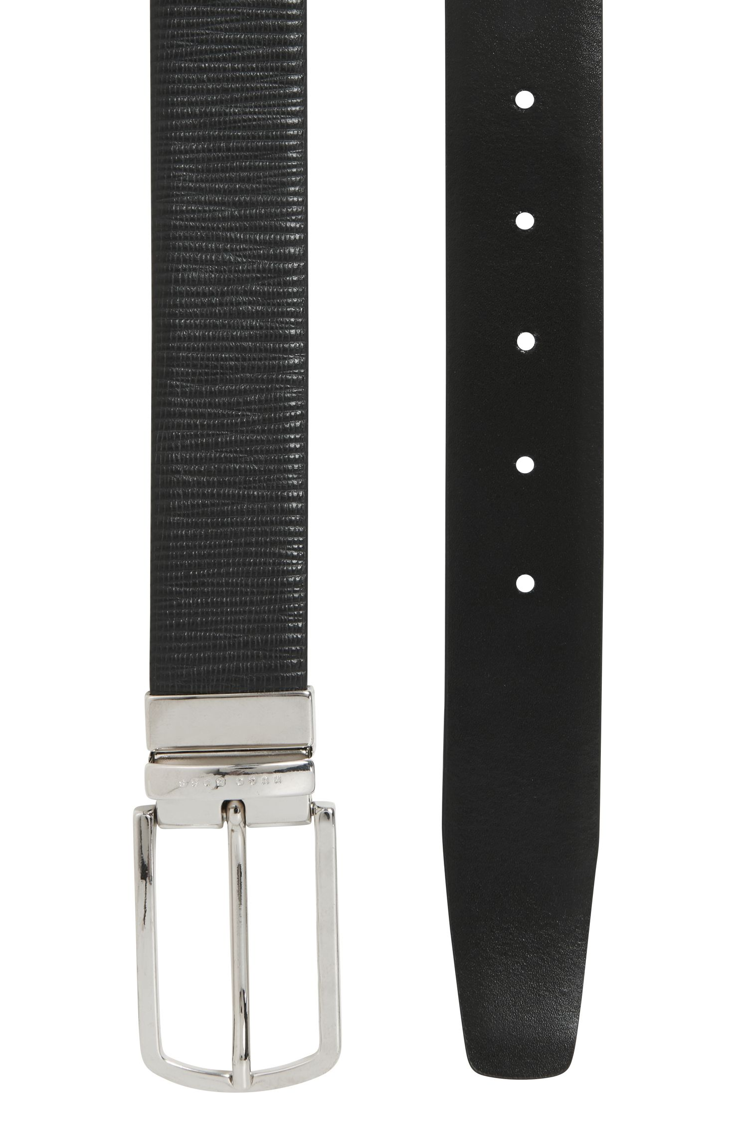 Reversible belt in smooth and structured leather