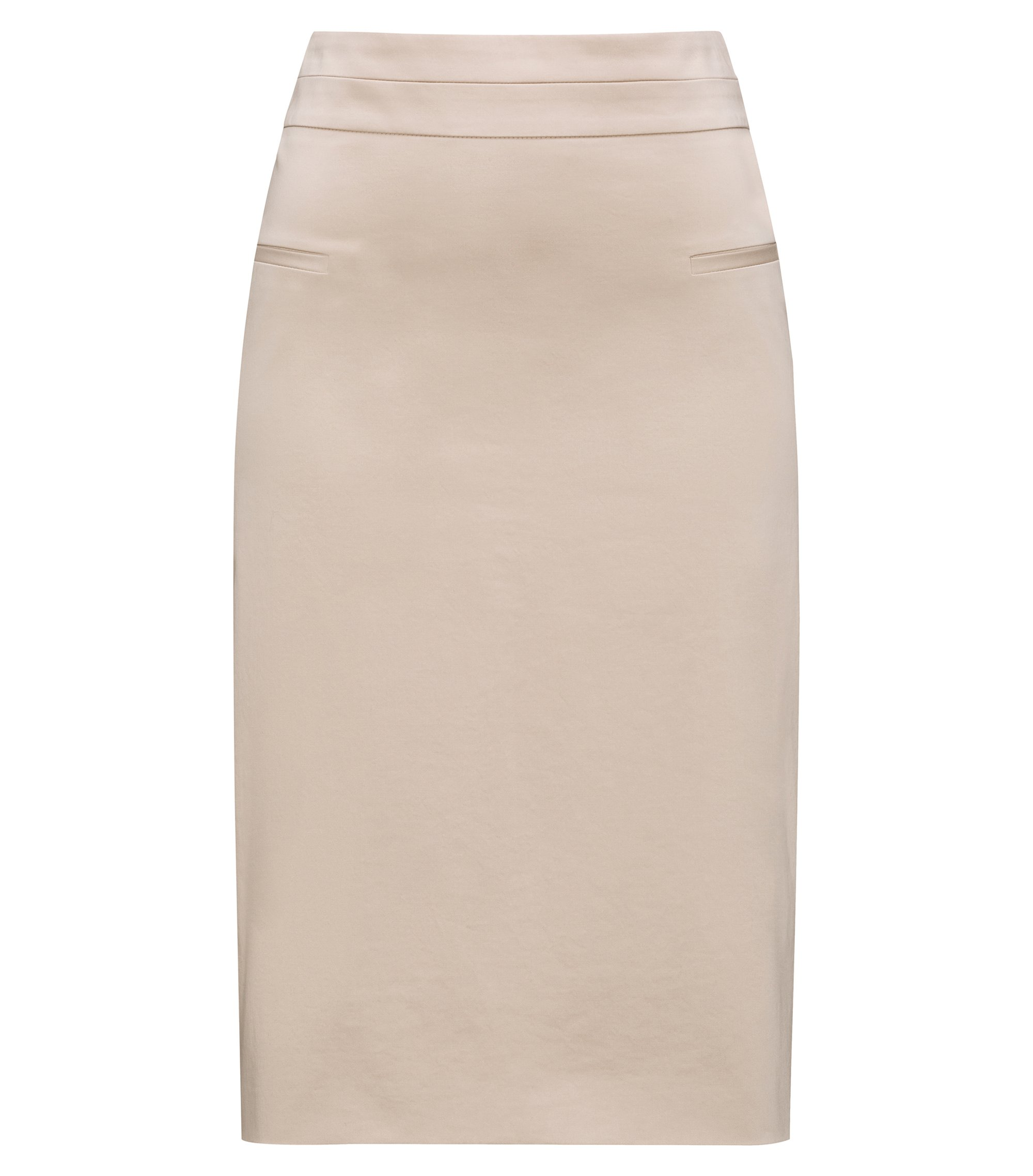 Pocket-detail pencil skirt in stretch cotton, Beige