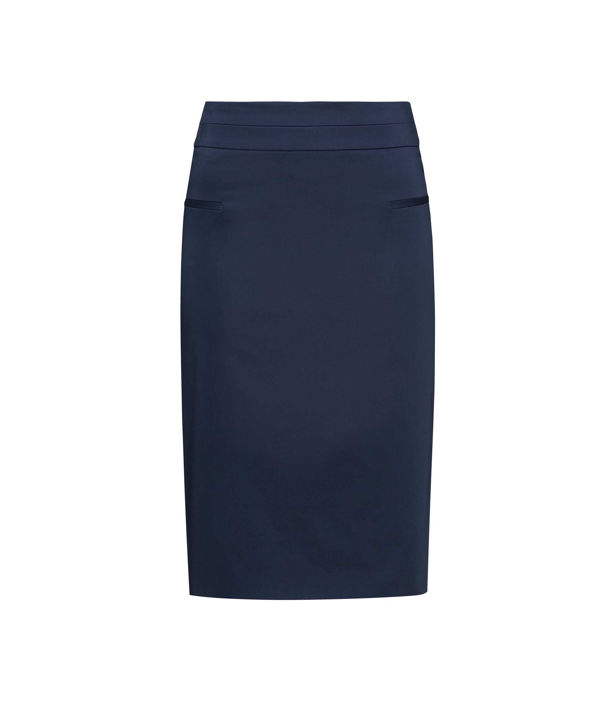 Pocket-detail pencil skirt in stretch cotton, Dark Blue