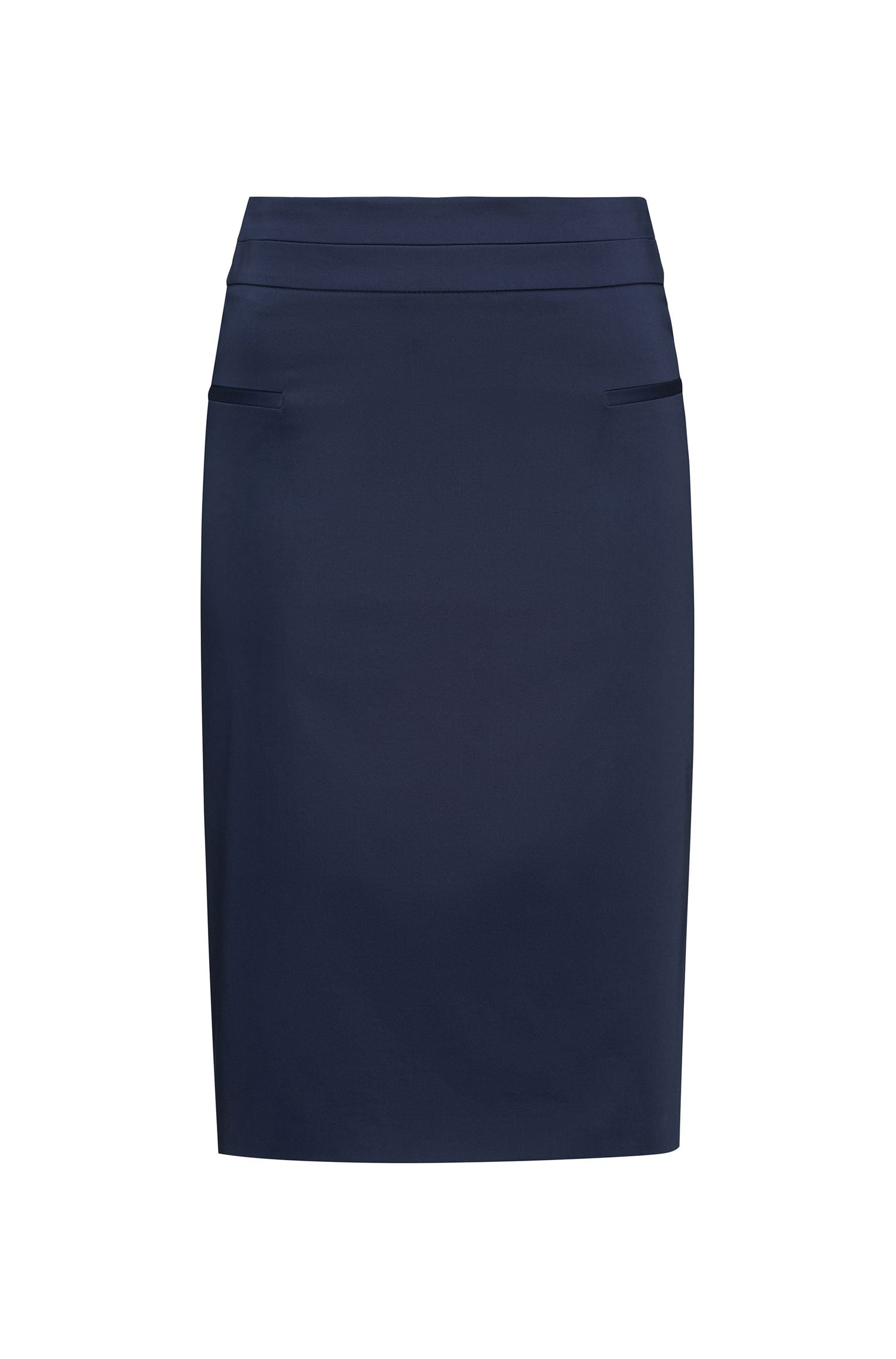 Pocket-detail pencil skirt in stretch cotton