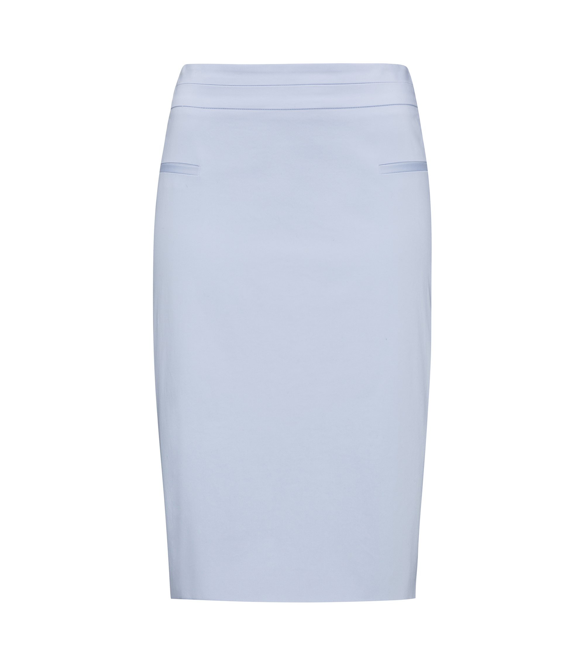 Pocket-detail pencil skirt in stretch cotton, Light Blue