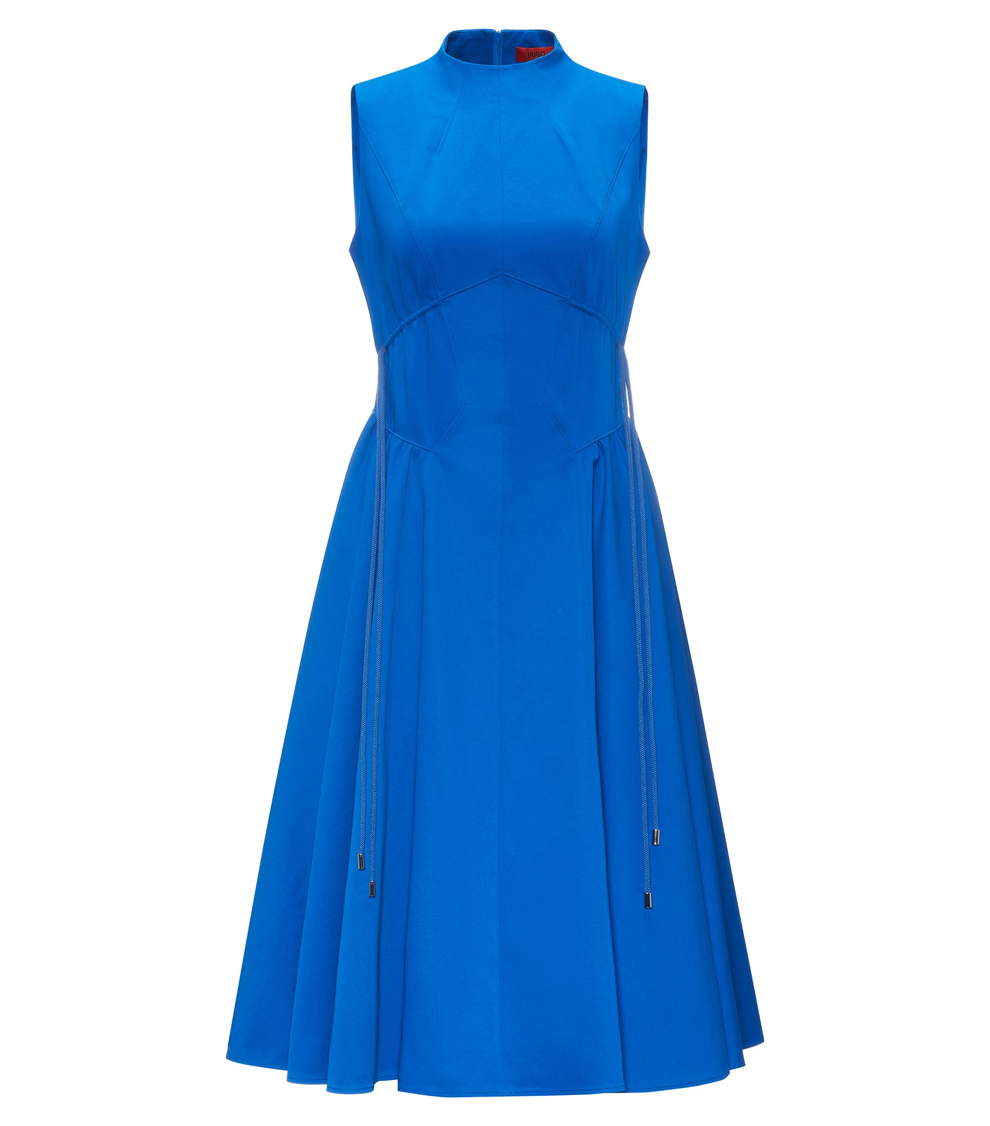 High-neck dress in stretch cotton, Blue