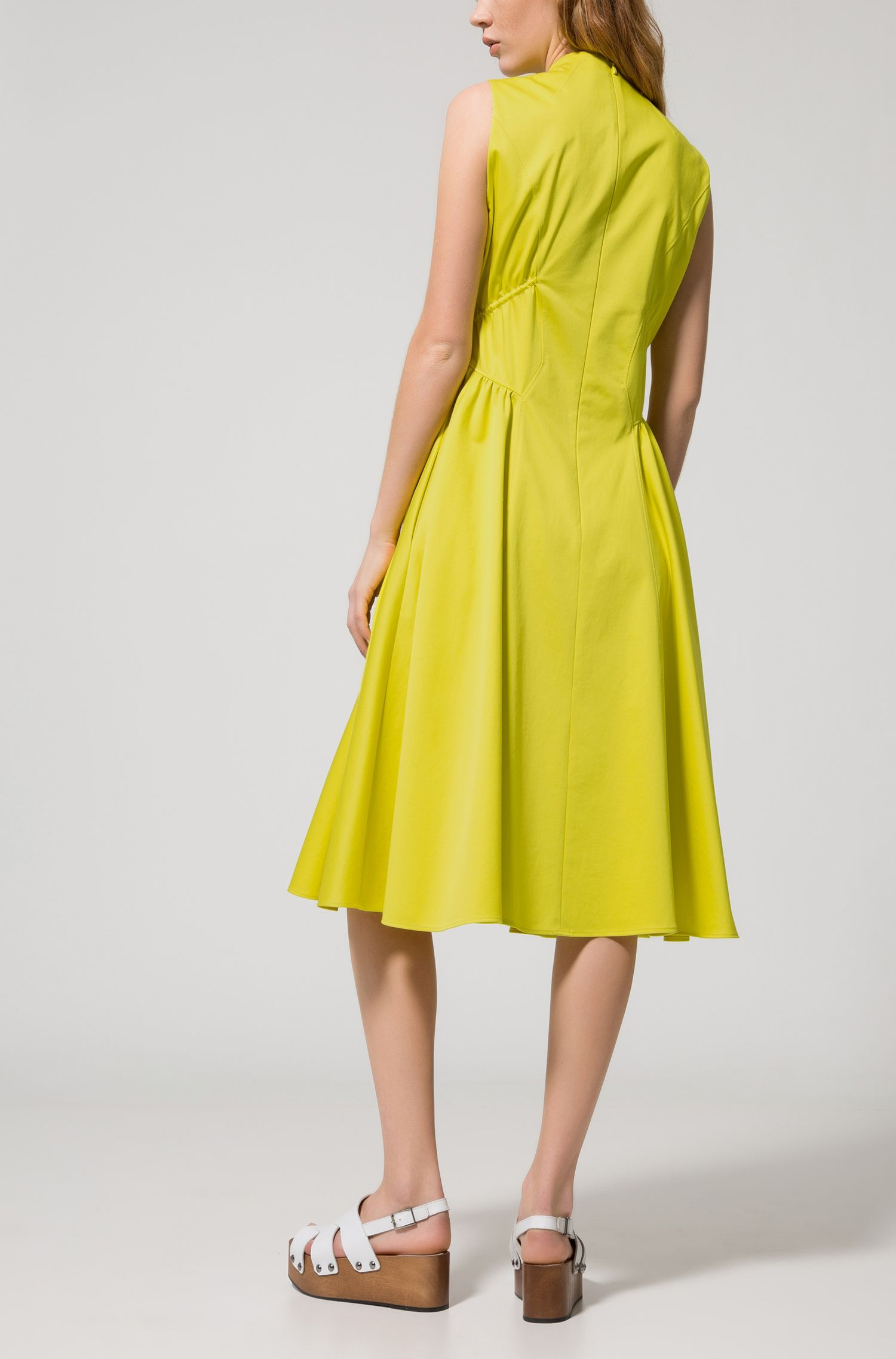 High-neck dress in stretch cotton