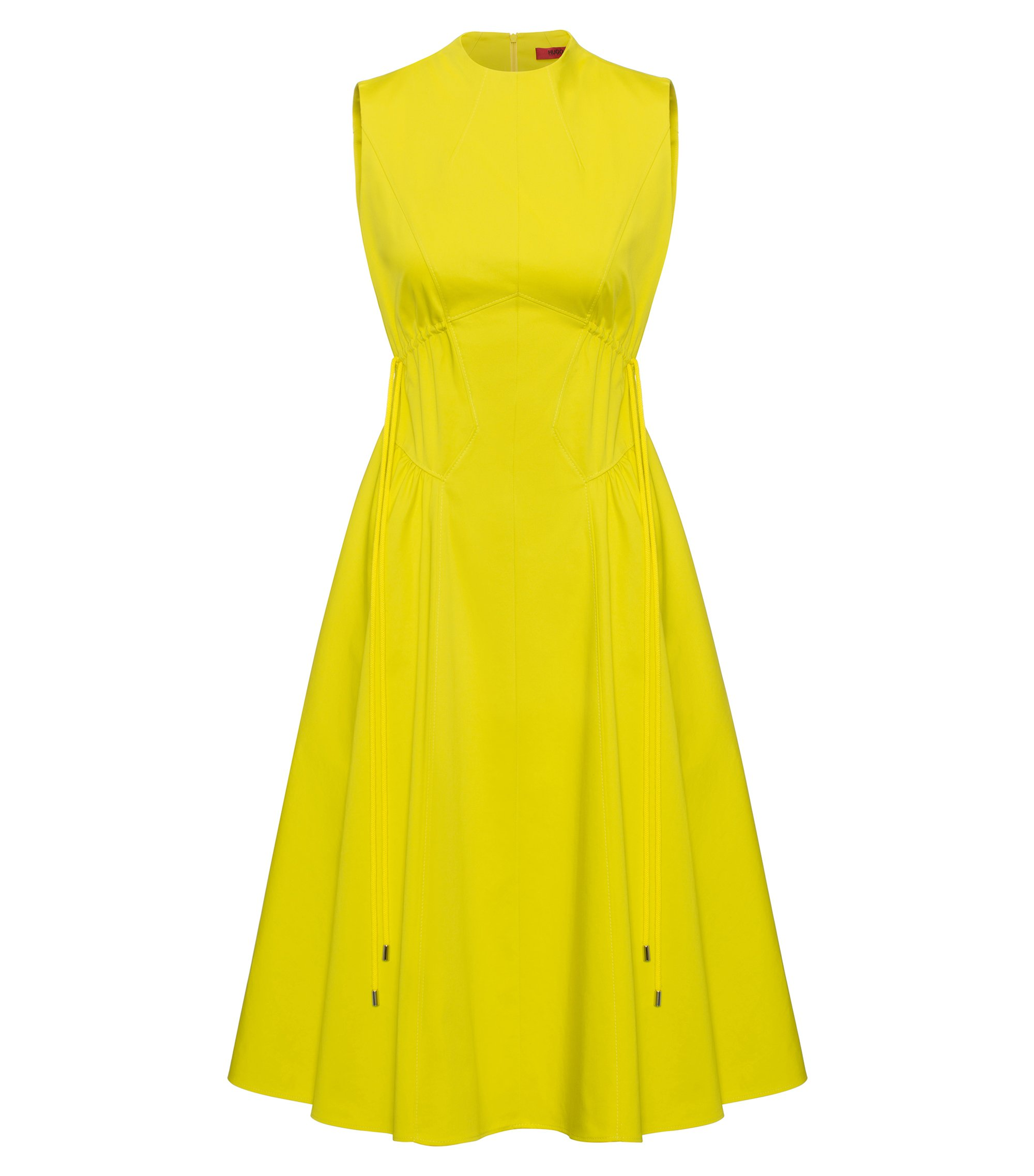 High-neck dress in stretch cotton, Yellow