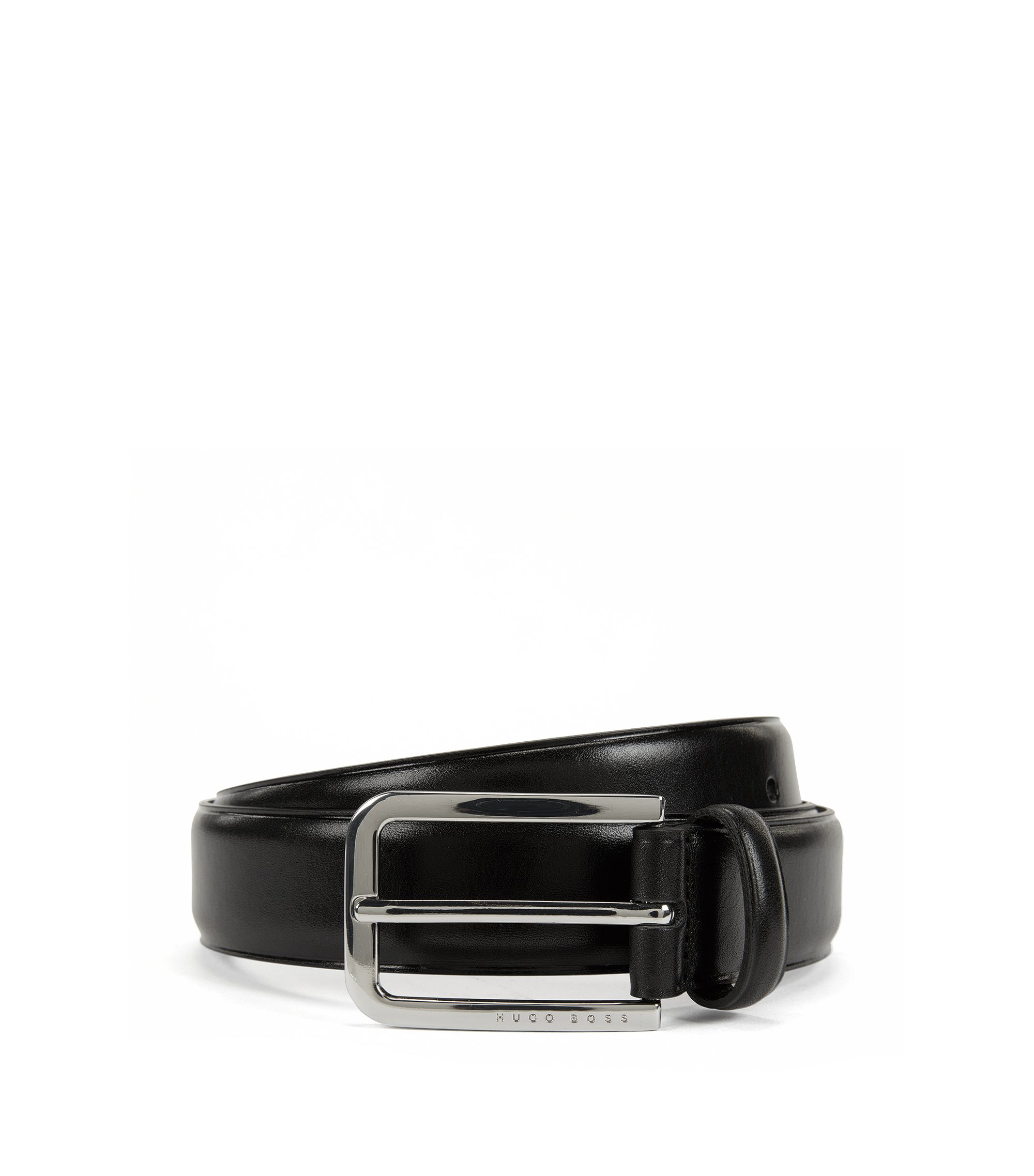Smooth leather belt with rounded buckle in polished metal, Black