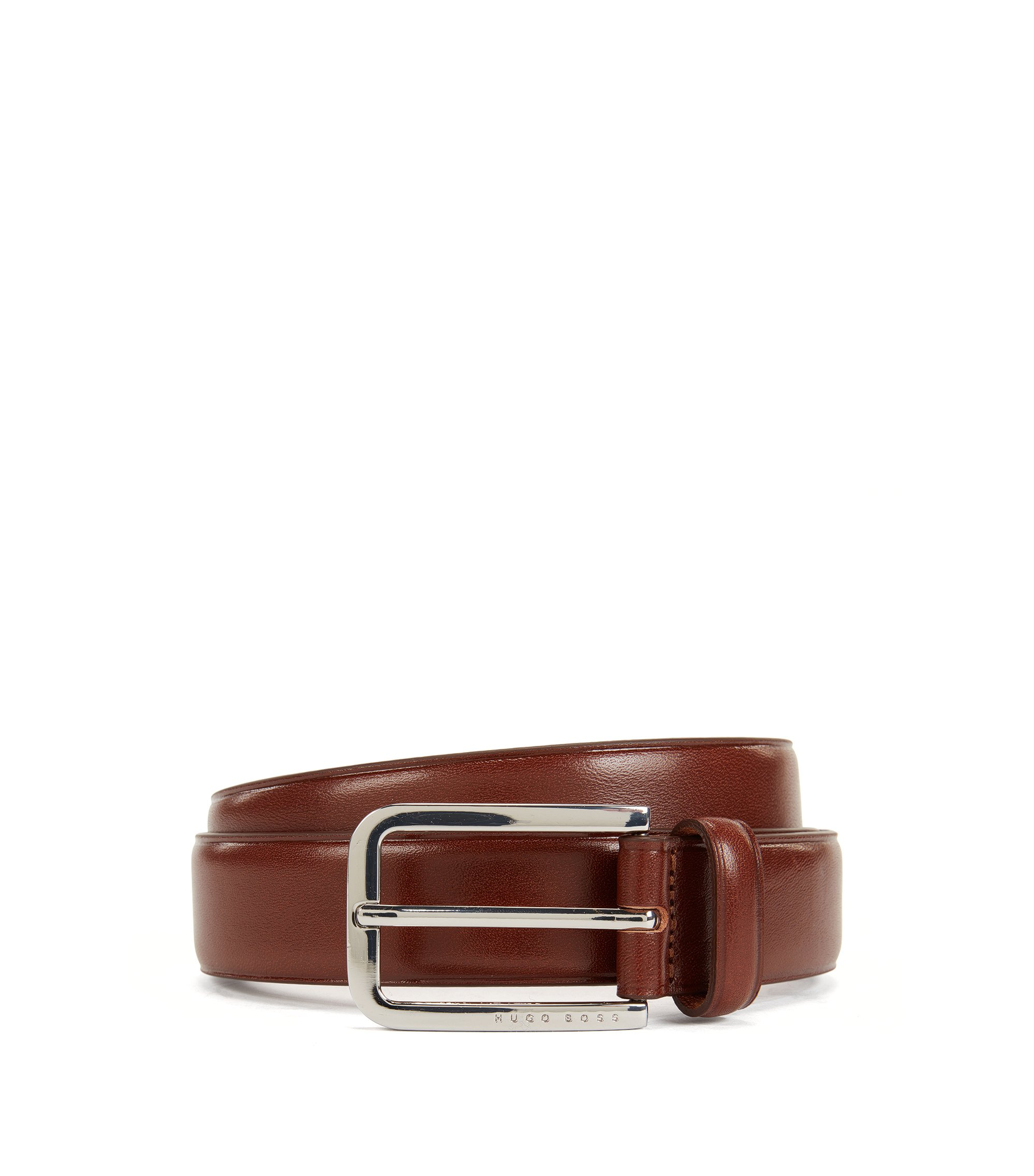 Smooth leather belt with rounded buckle in polished metal, Brown