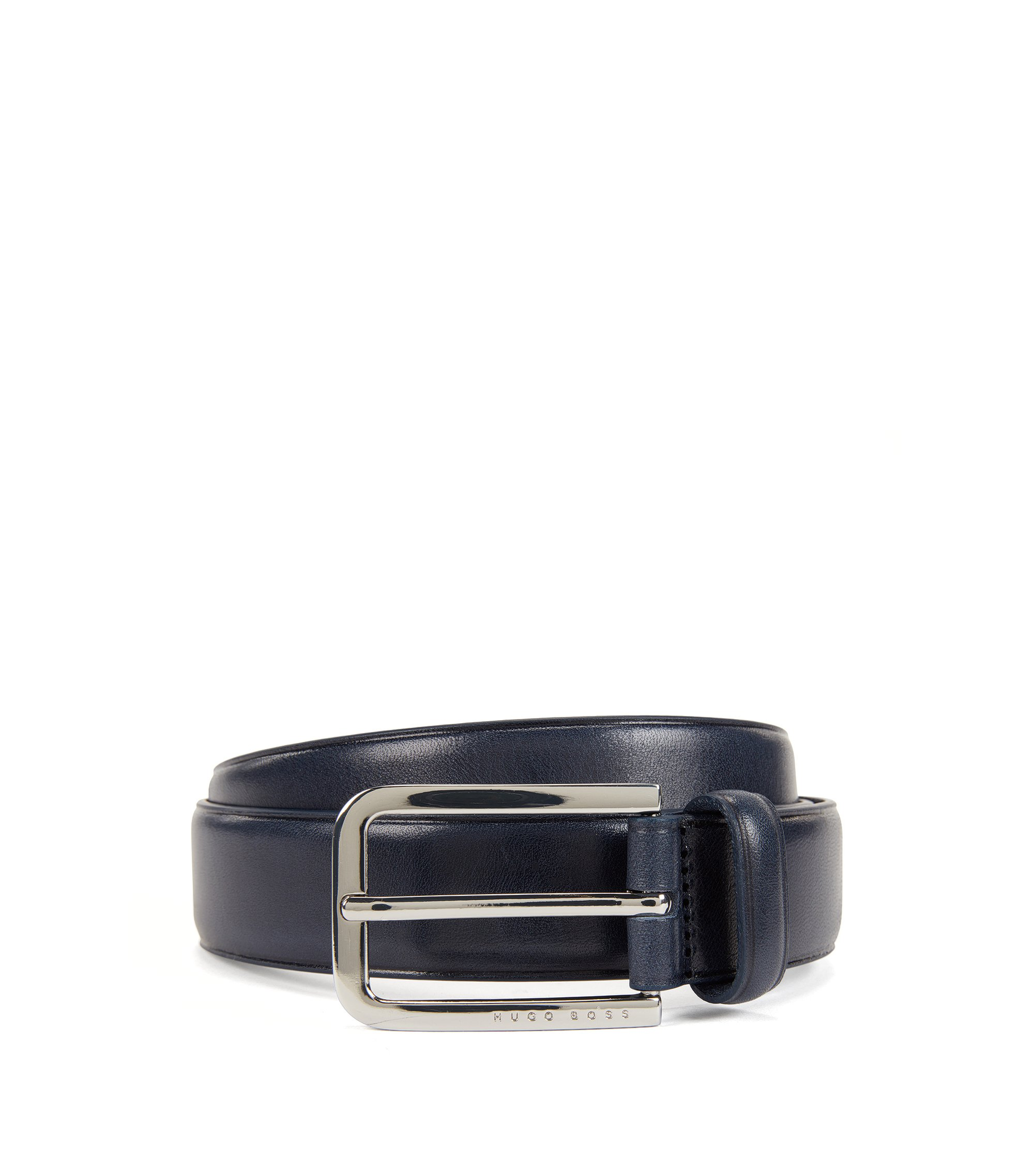 Smooth leather belt with rounded buckle in polished metal, Dark Blue