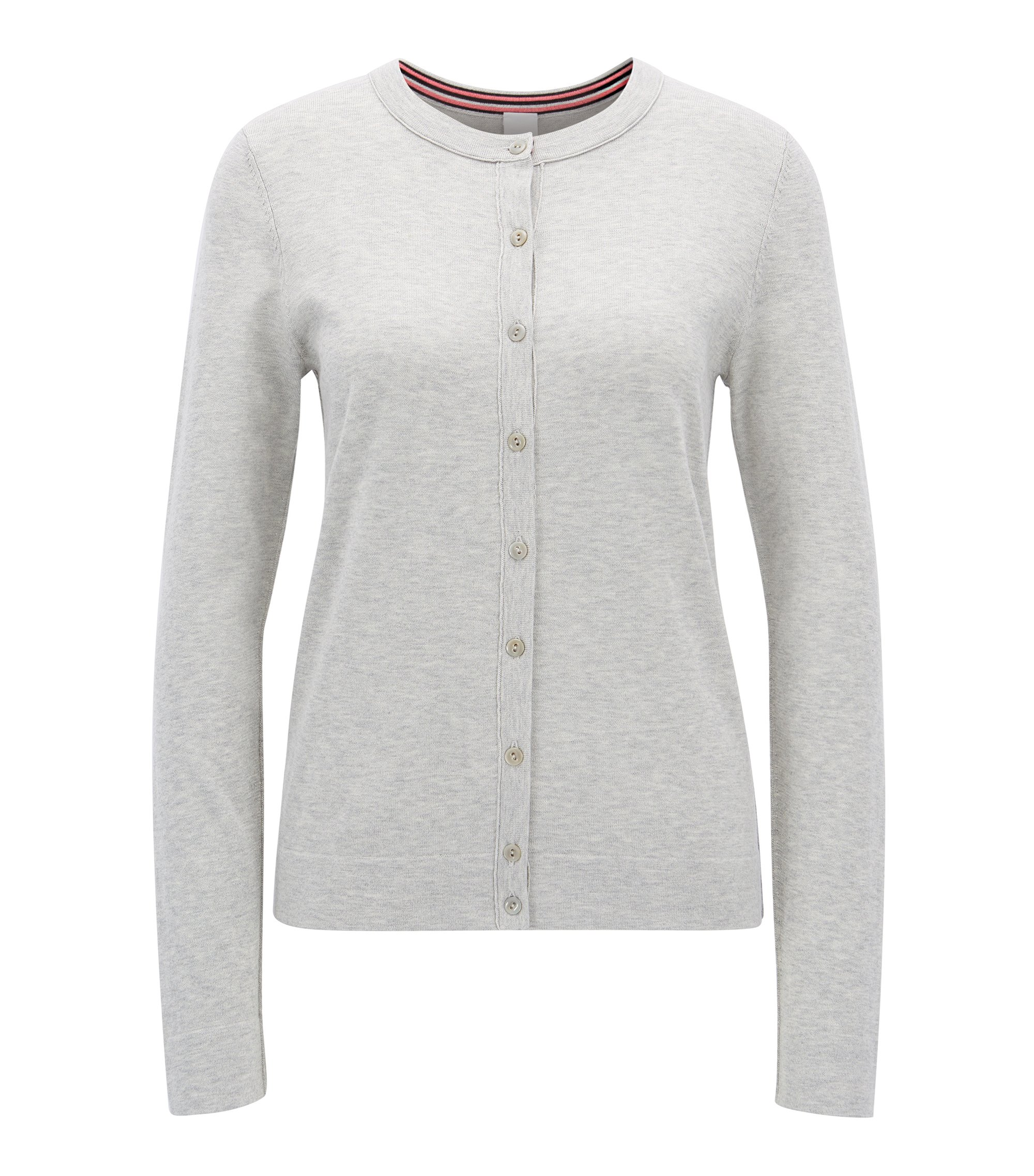 Knitted cardigan in a single-jersey cotton blend, Light Grey
