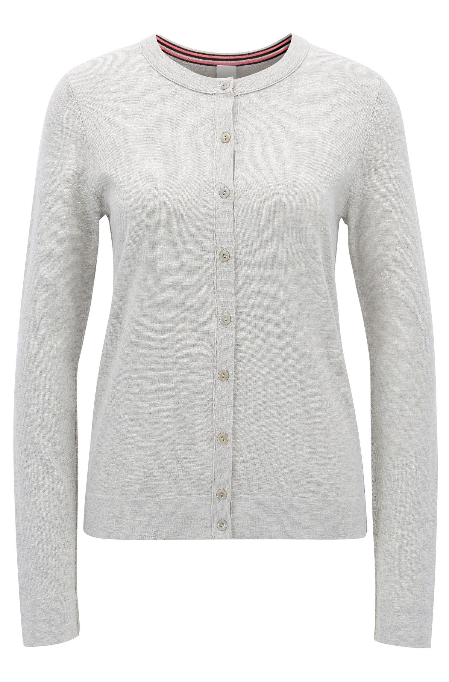 Cardigan en maille en jersey simple de coton mélangé