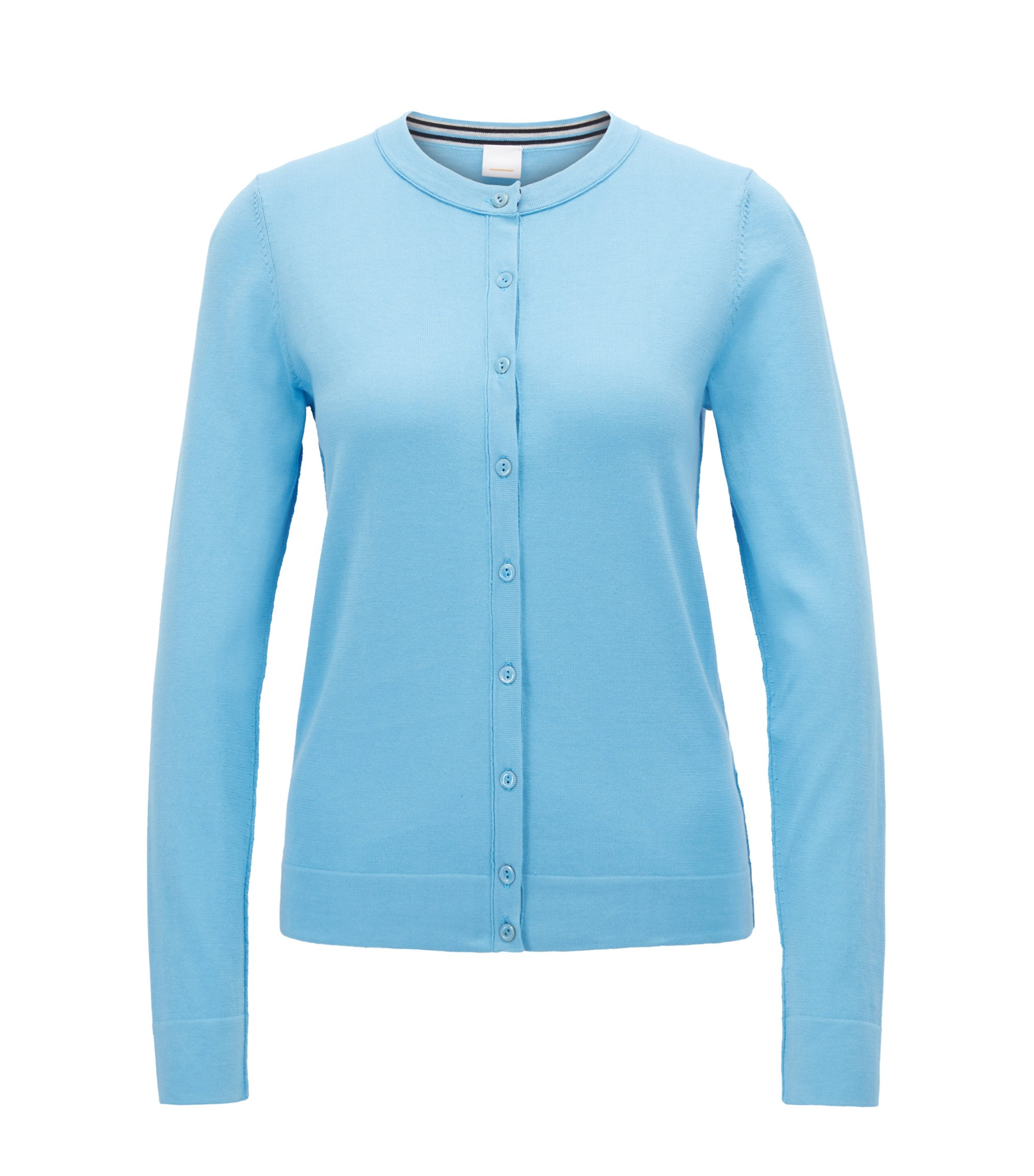 Knitted cardigan in a single-jersey cotton blend, Light Blue