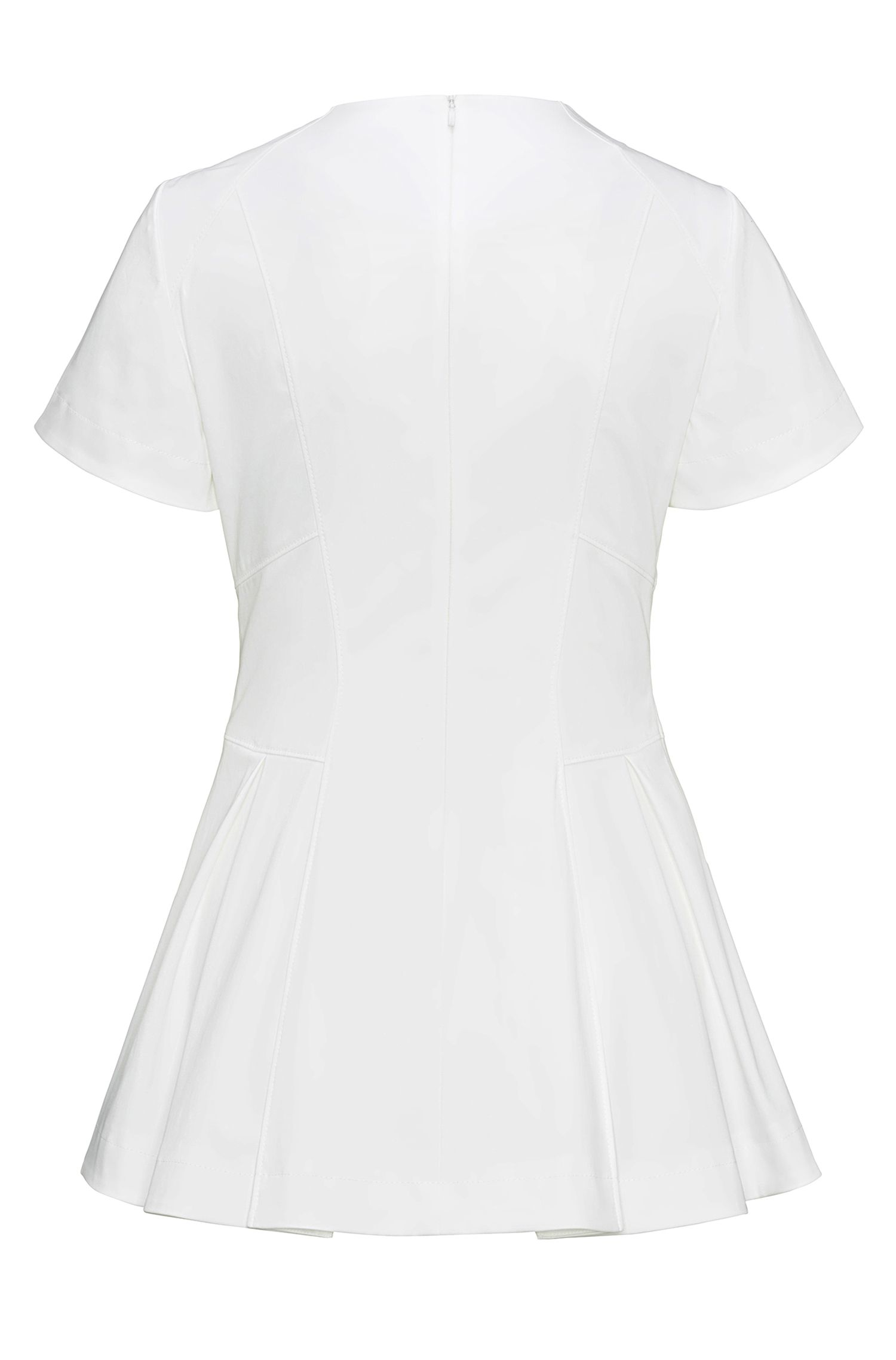Stretch-cotton top with pleated peplum