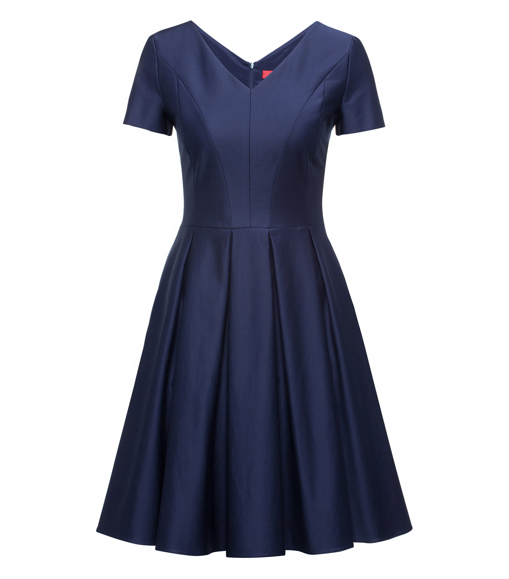 Modern V-neck dress in stretch cotton with voluminous skirt, Dark Blue