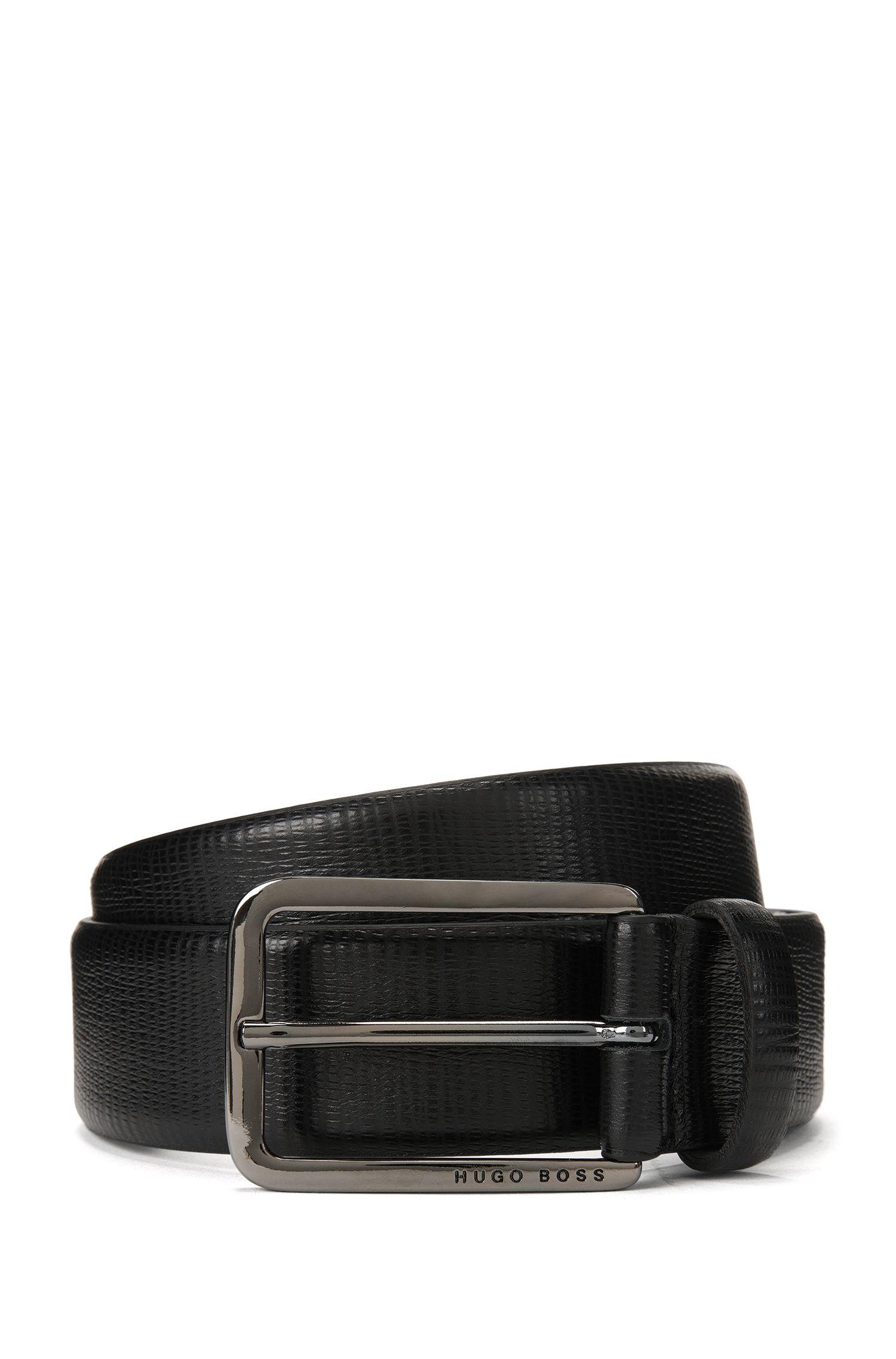 Cinturón de piel de becerro italiana con acabado grabado