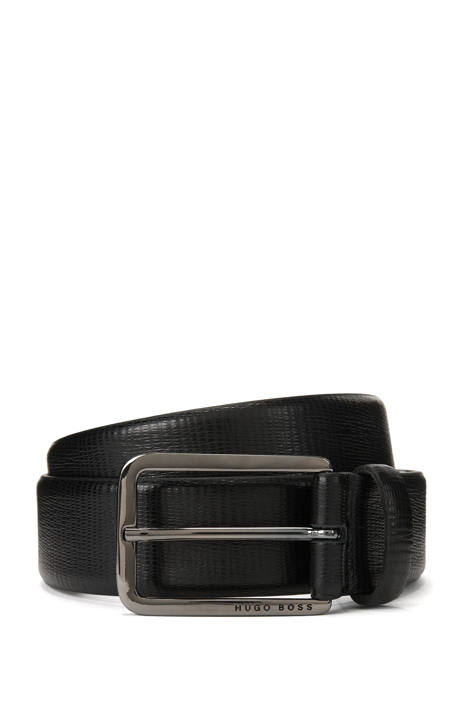 Italian calf-leather belt with embossed finish
