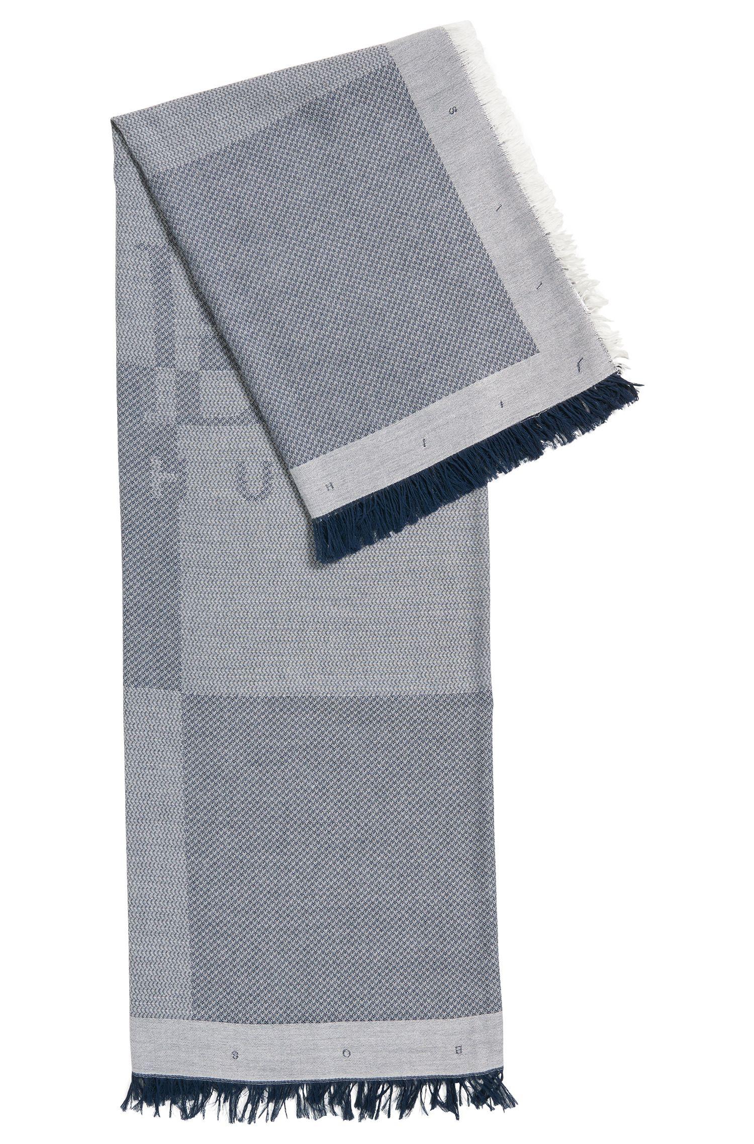 Sciarpa con logo in misto cotone con lavorazione a spina di pesce