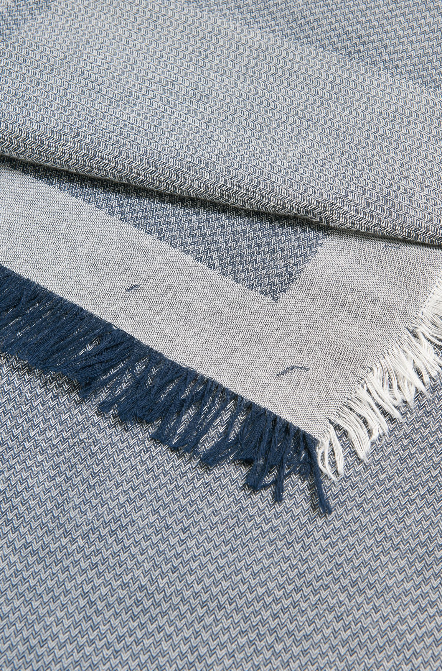 Cotton-blend logo scarf with herringbone structure