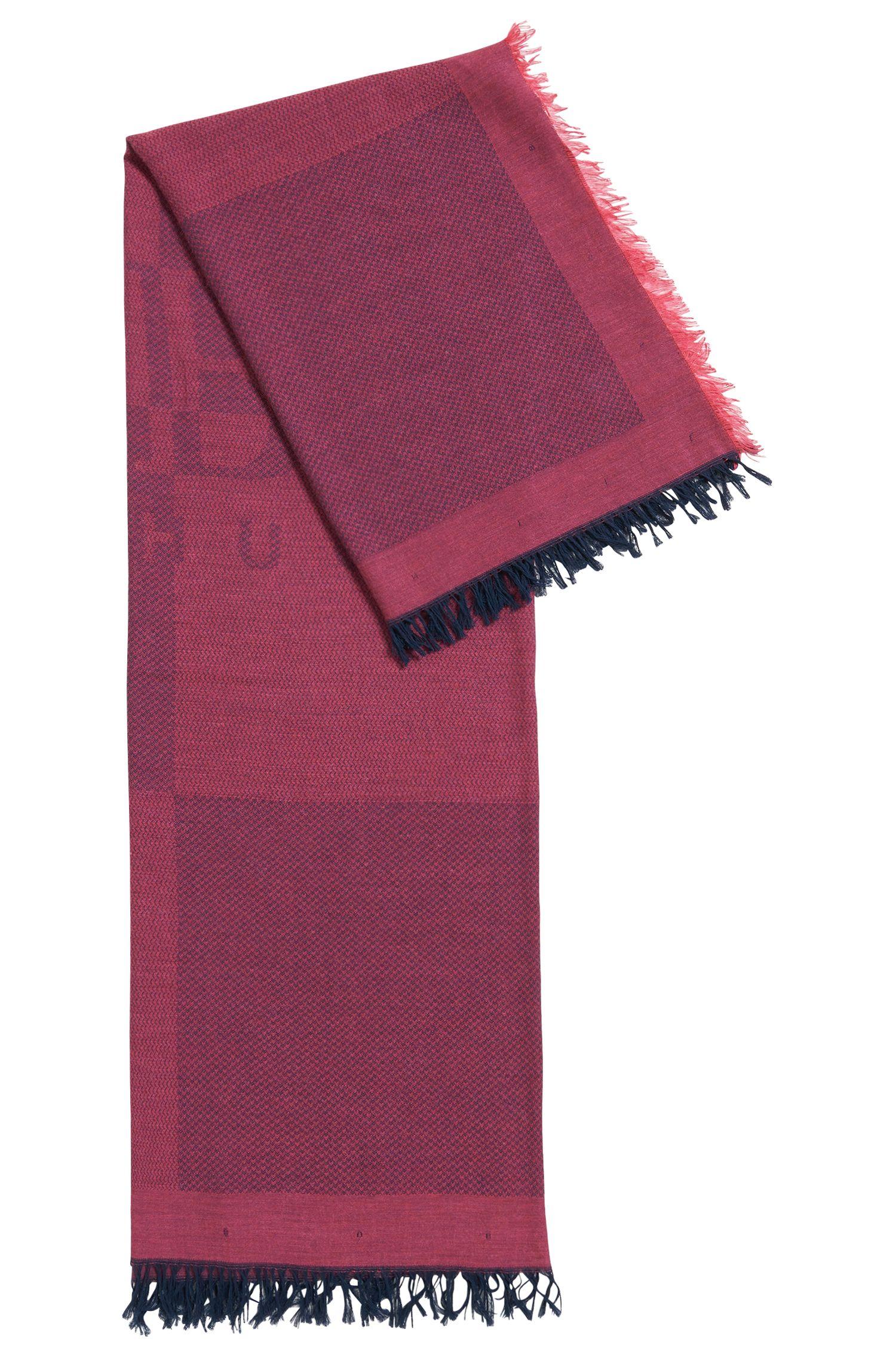 Schal aus Baumwoll-Mix mit Logo-Details und Fischgrät-Struktur