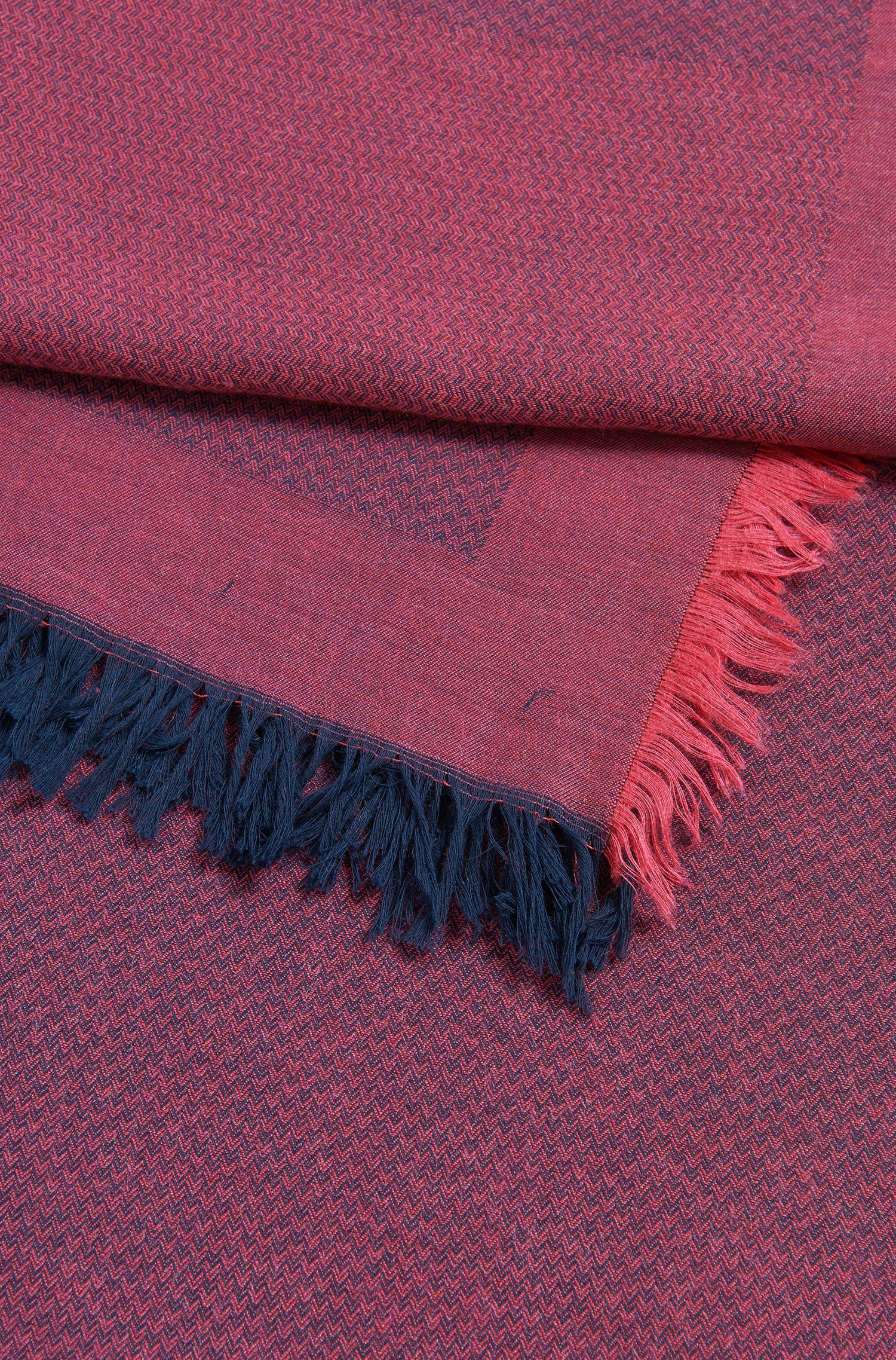 Bufanda en mezcla de algodón con logo y textura de espiga