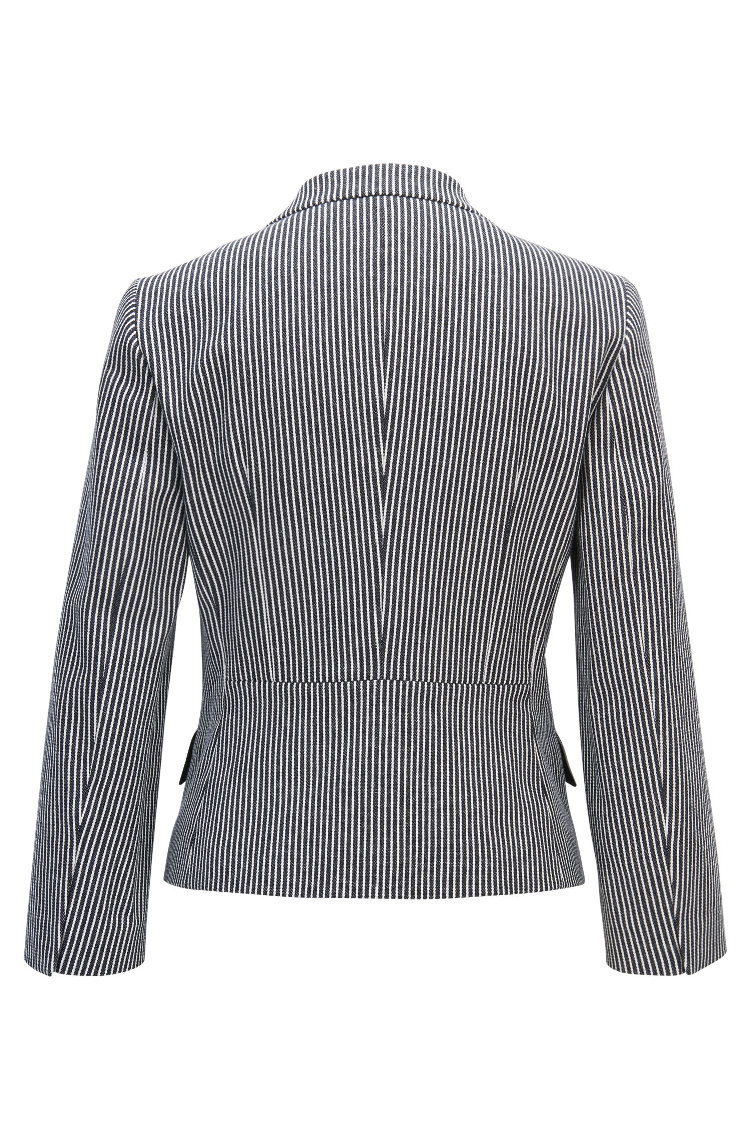 Regular-Fit Blazer aus gestreifter Stretch-Baumwolle