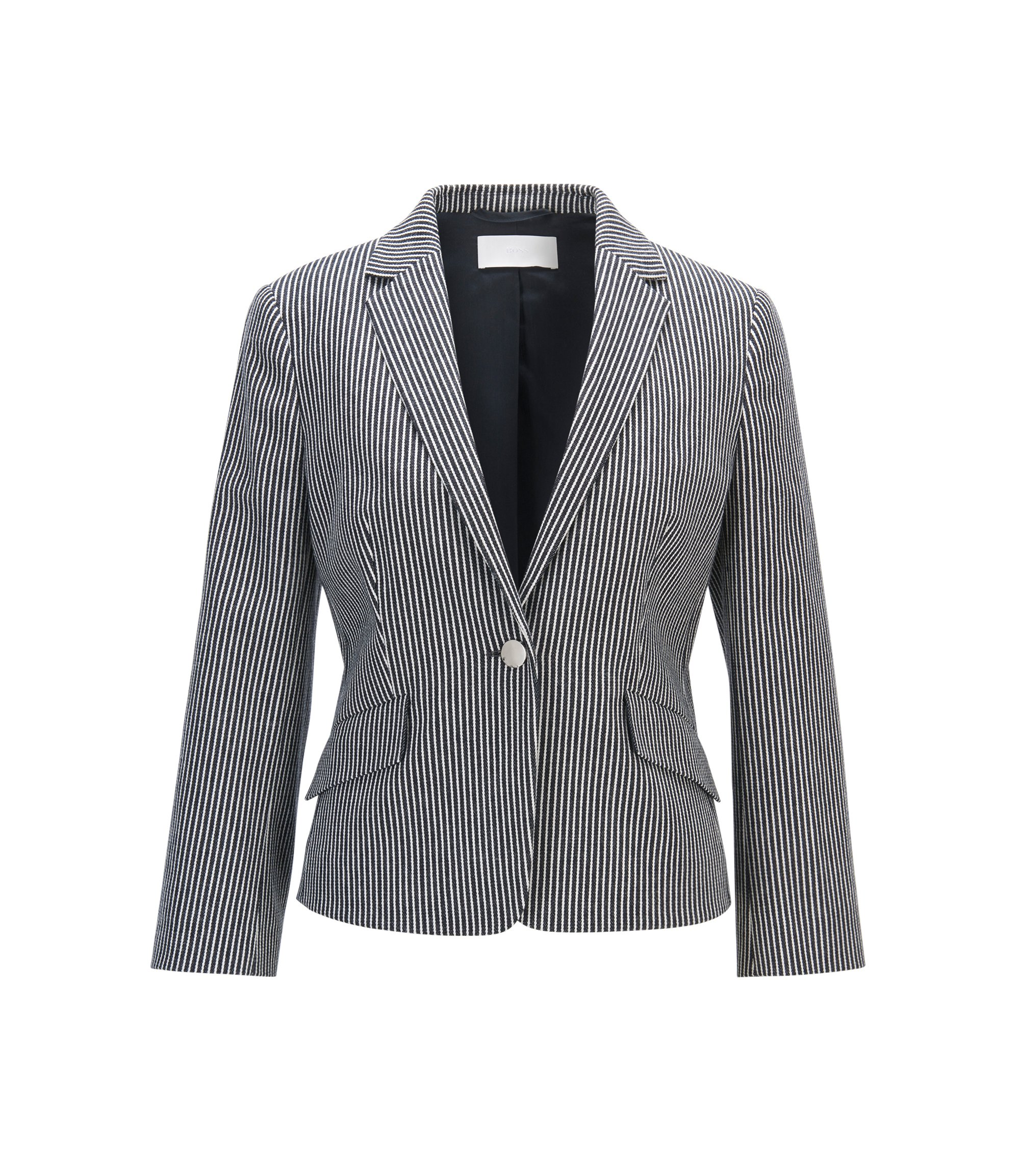 Regular-fit tailored jacket in denim-stripe stretch cotton, Patterned