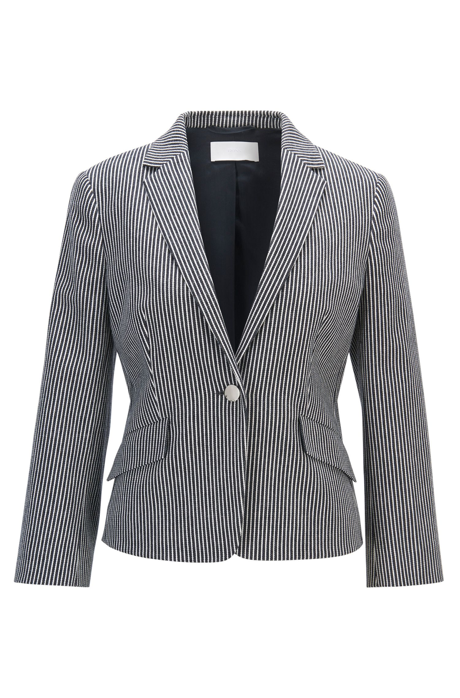 Regular-fit tailored jacket in denim-stripe stretch cotton