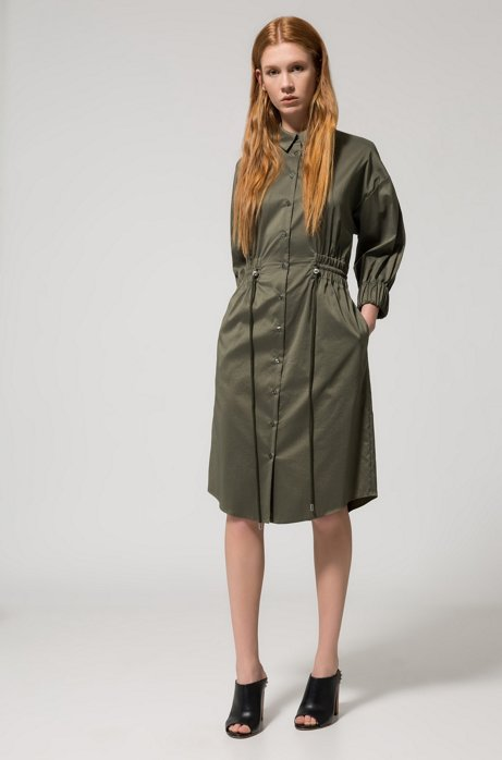 Cotton-blend shirt dress with smocked waistline HUGO BOSS 2018 Newest Cheap Online Buy Cheap Online Browse Cheap Price Finishline Sale Online Store Cheap Online MxWFM2
