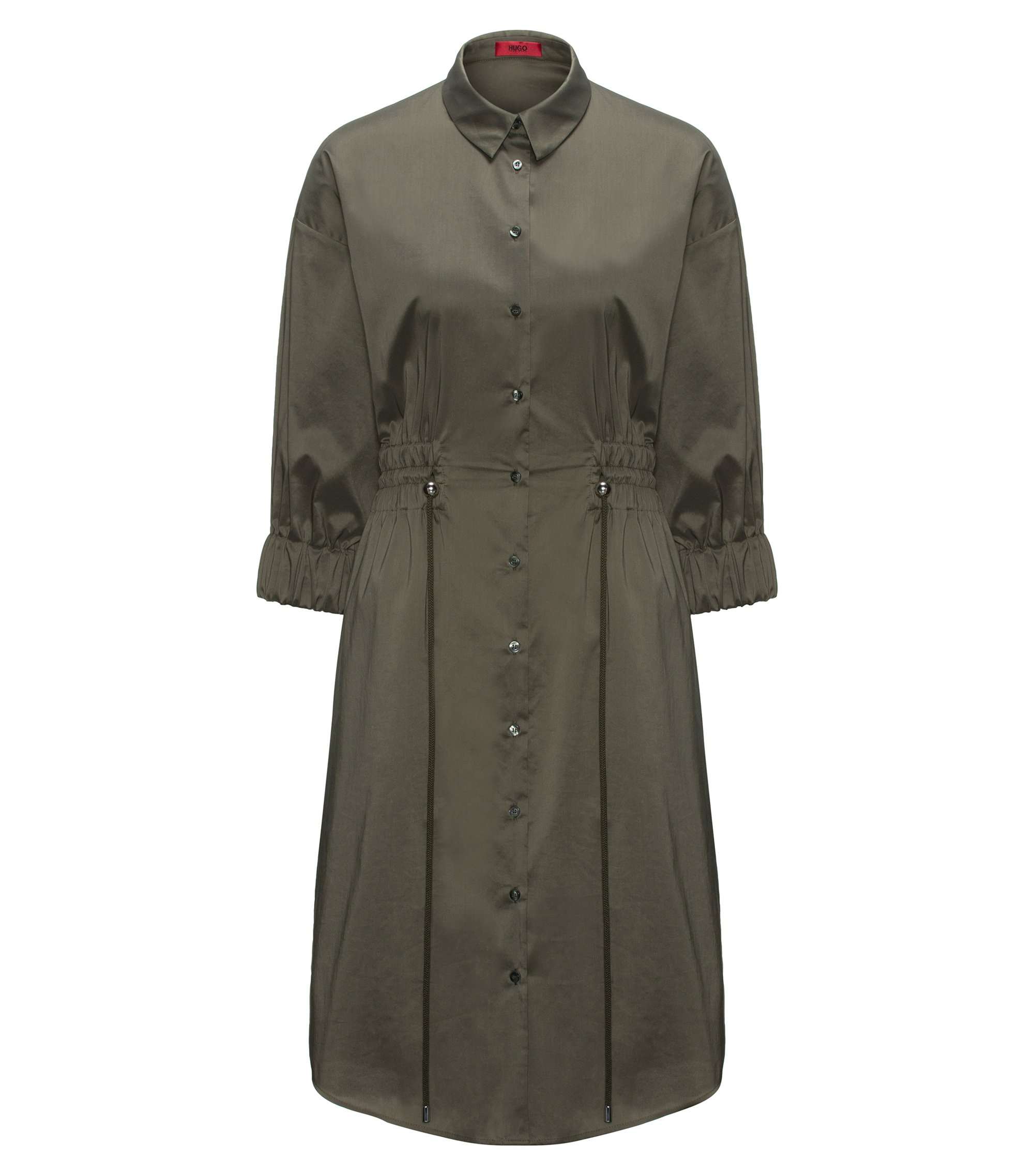 Cotton-blend shirt dress with smocked waistline, Dark Green