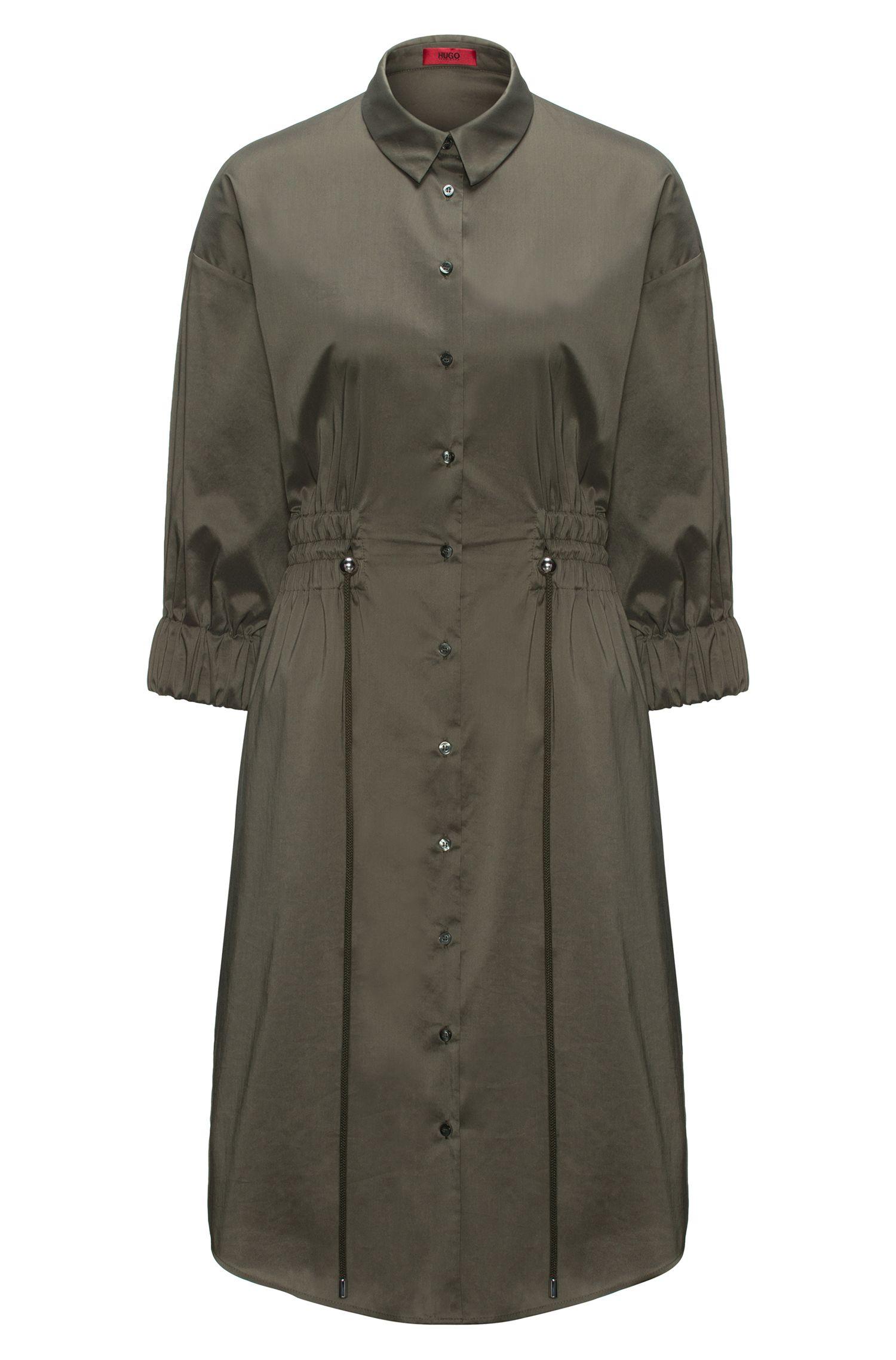 Vestido camisero en mezcla de algodón con cintura fruncida