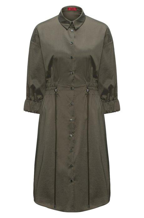 Cotton-blend shirt dress with smocked waistline HUGO BOSS ThnhQj