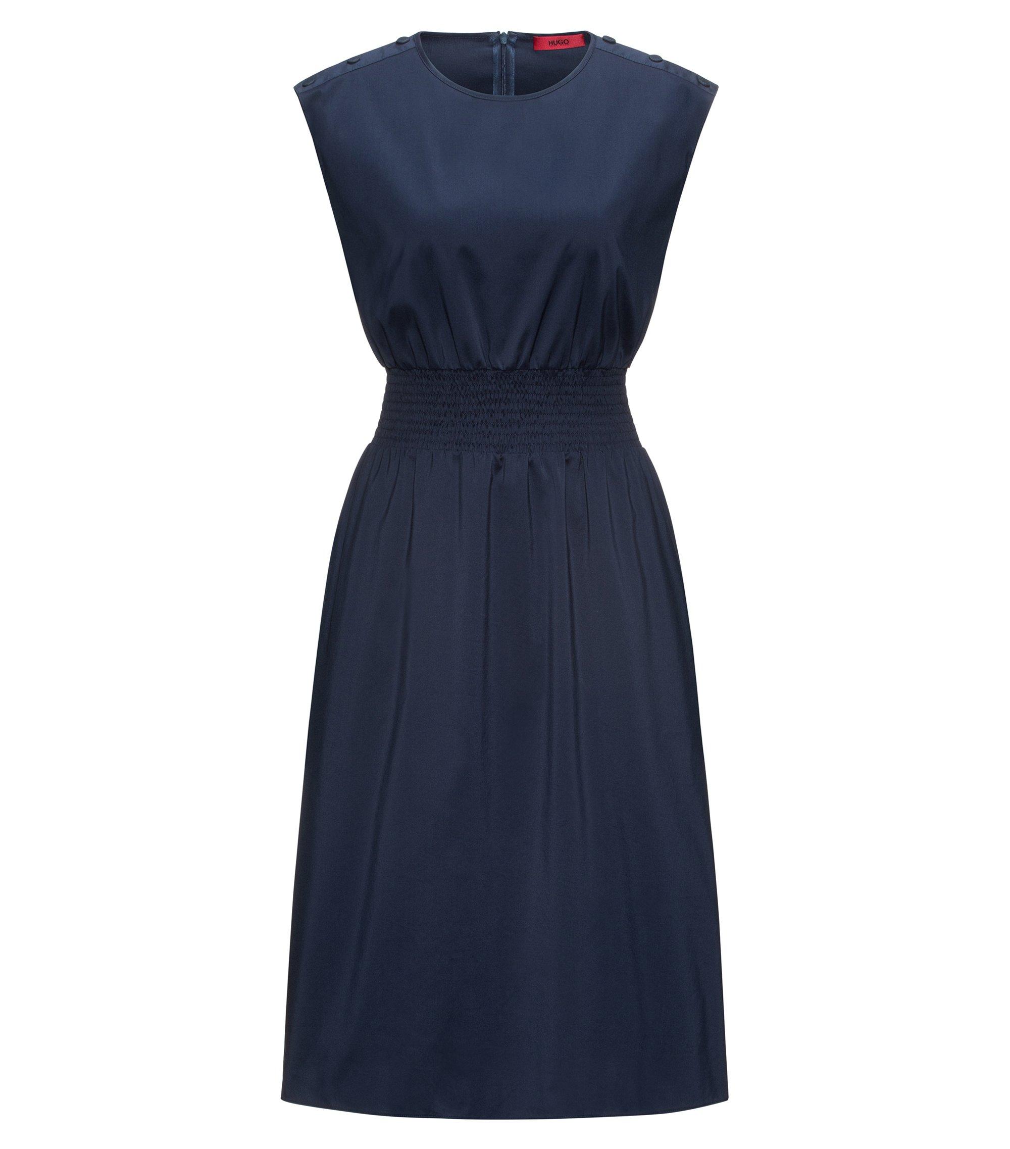 Cotton-blend sleeveless dress with smocking detail, Dark Blue