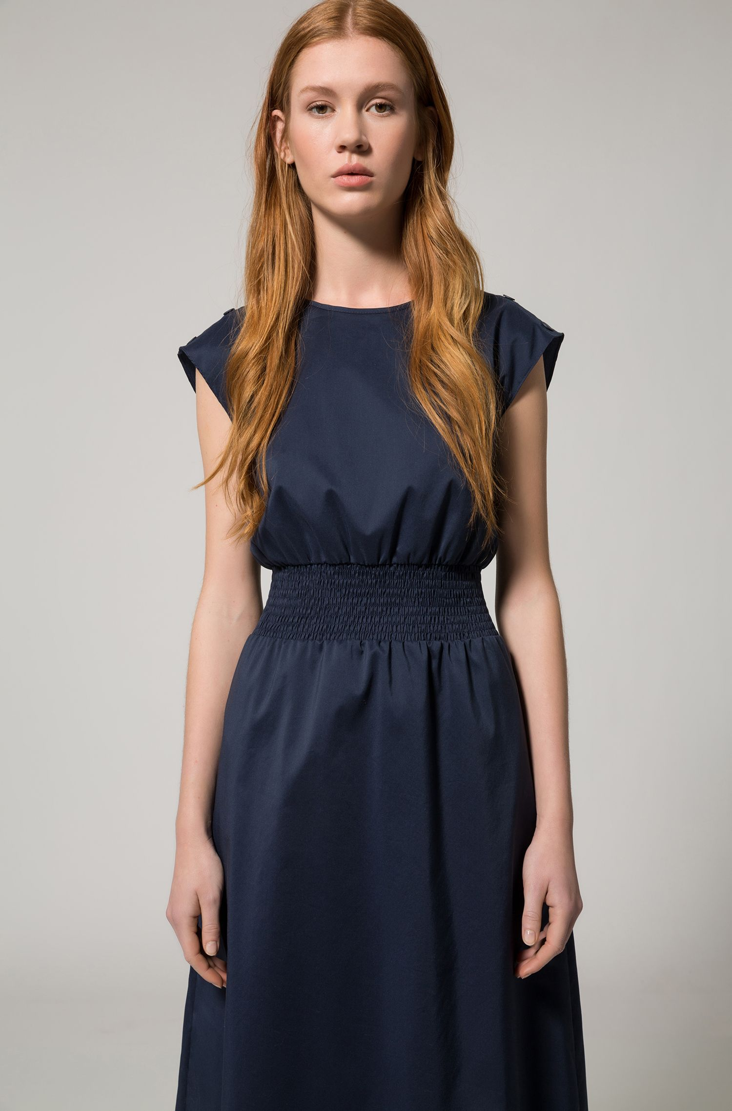 Cotton-blend sleeveless dress with smocking detail