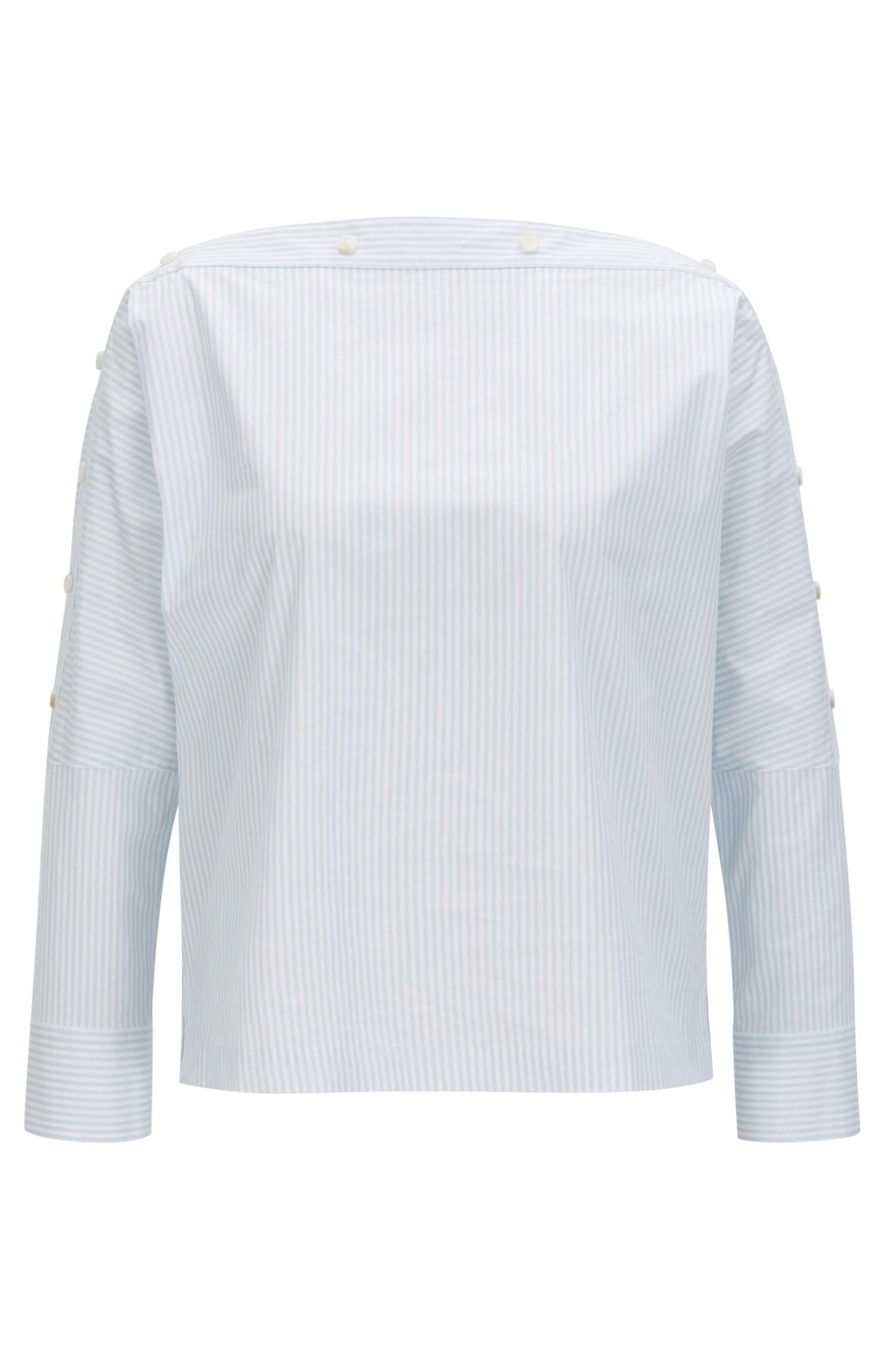 Stretch-cotton striped blouse with buttoned neckline