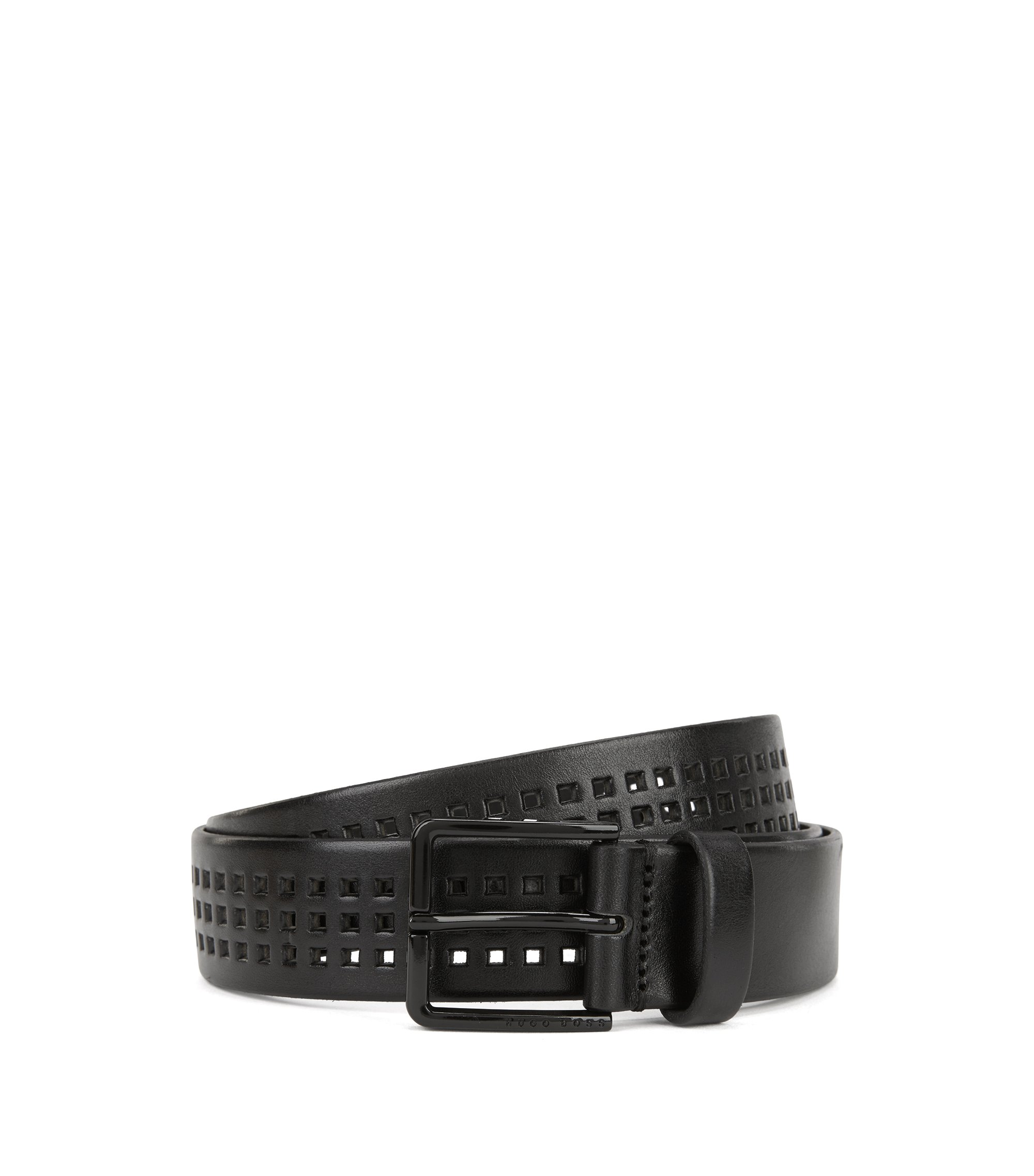 Perforated Italian-leather belt with black-varnished buckle, Schwarz