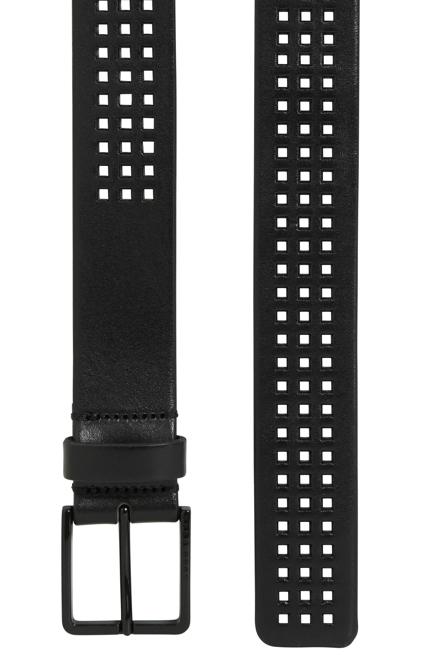 Perforated Italian-leather belt with black-varnished buckle