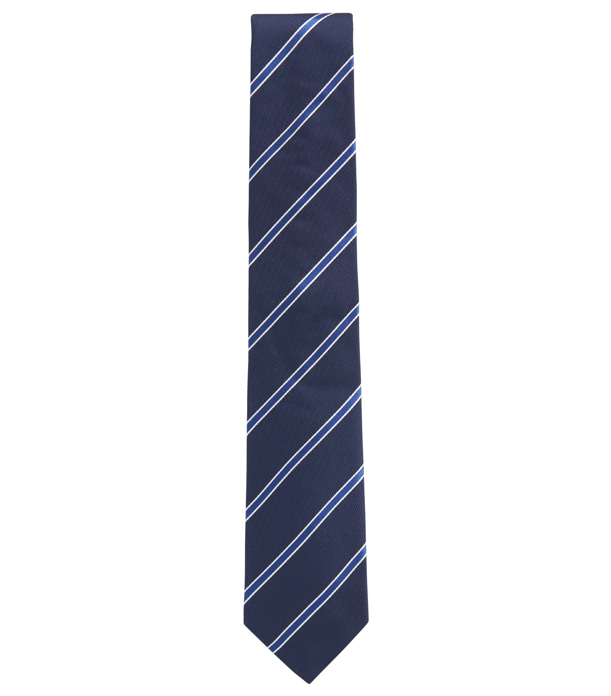 Yarn-dyed diagonal striped tie in silk jacquard, Blue