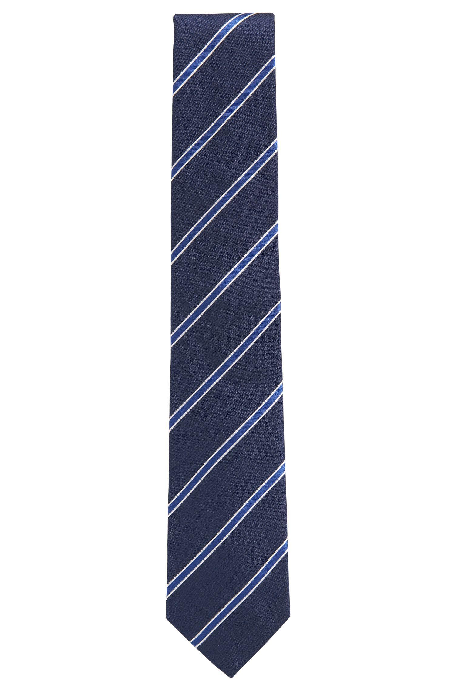 Stropdas van jacquard zijde met garengeverfde diagonale strepen