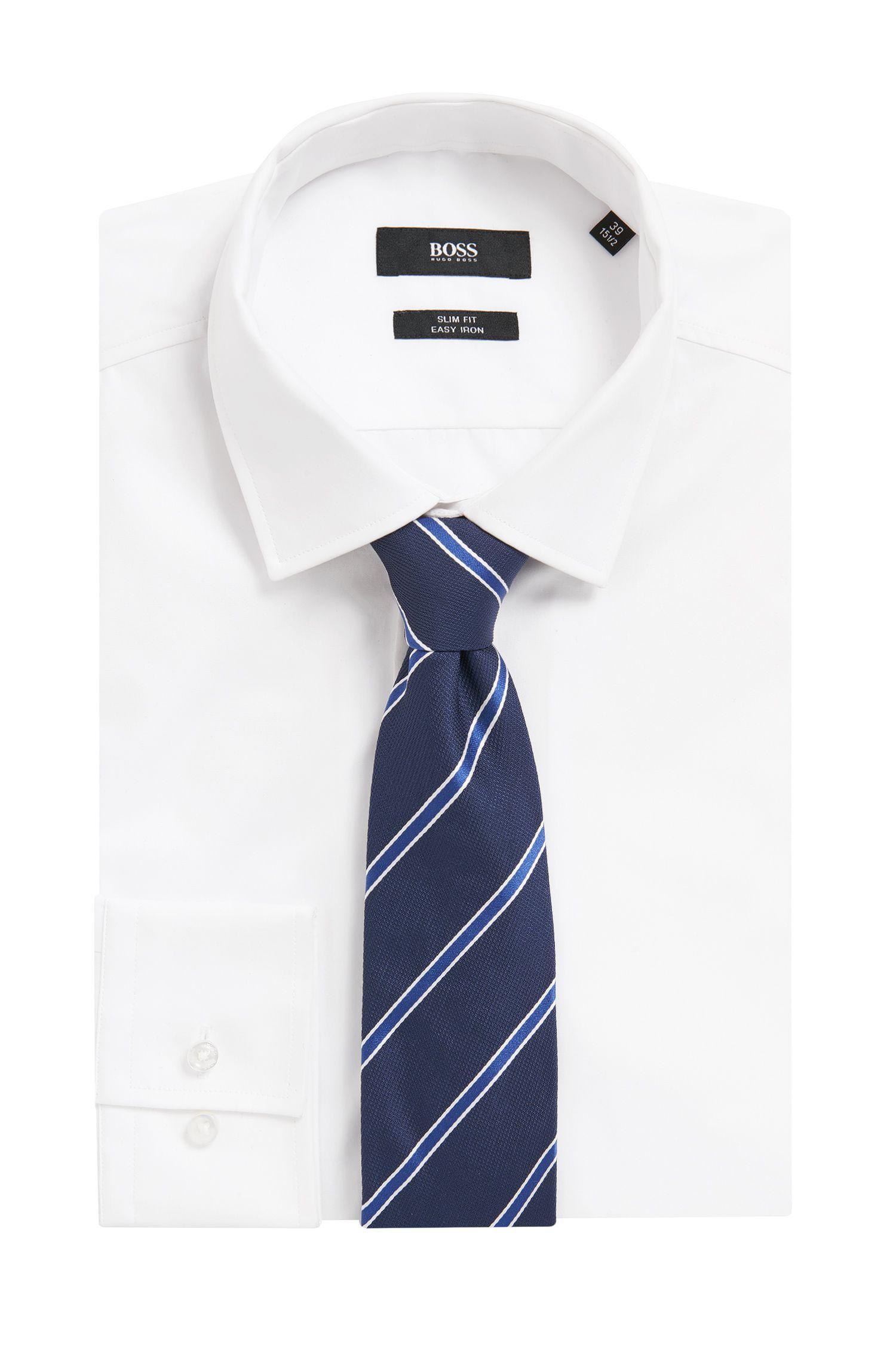Cravate en jacquard de soie tissée-teinte avec rayures en diagonale
