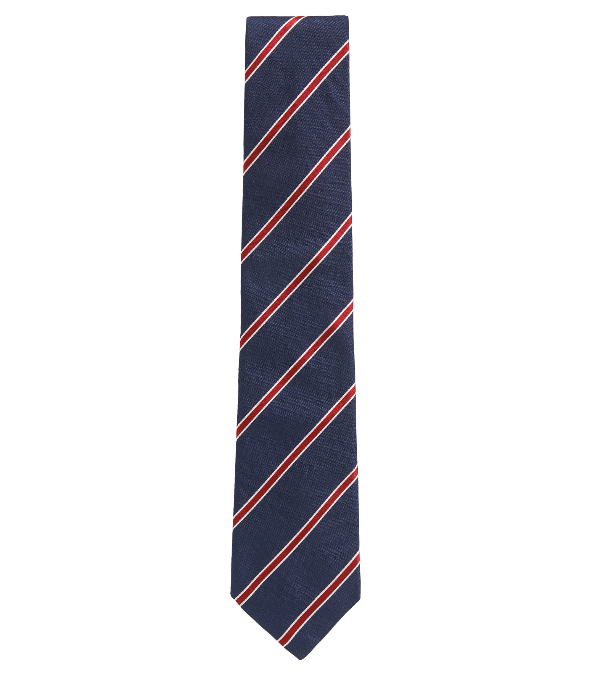 Yarn-dyed diagonal striped tie in silk jacquard, Dark pink