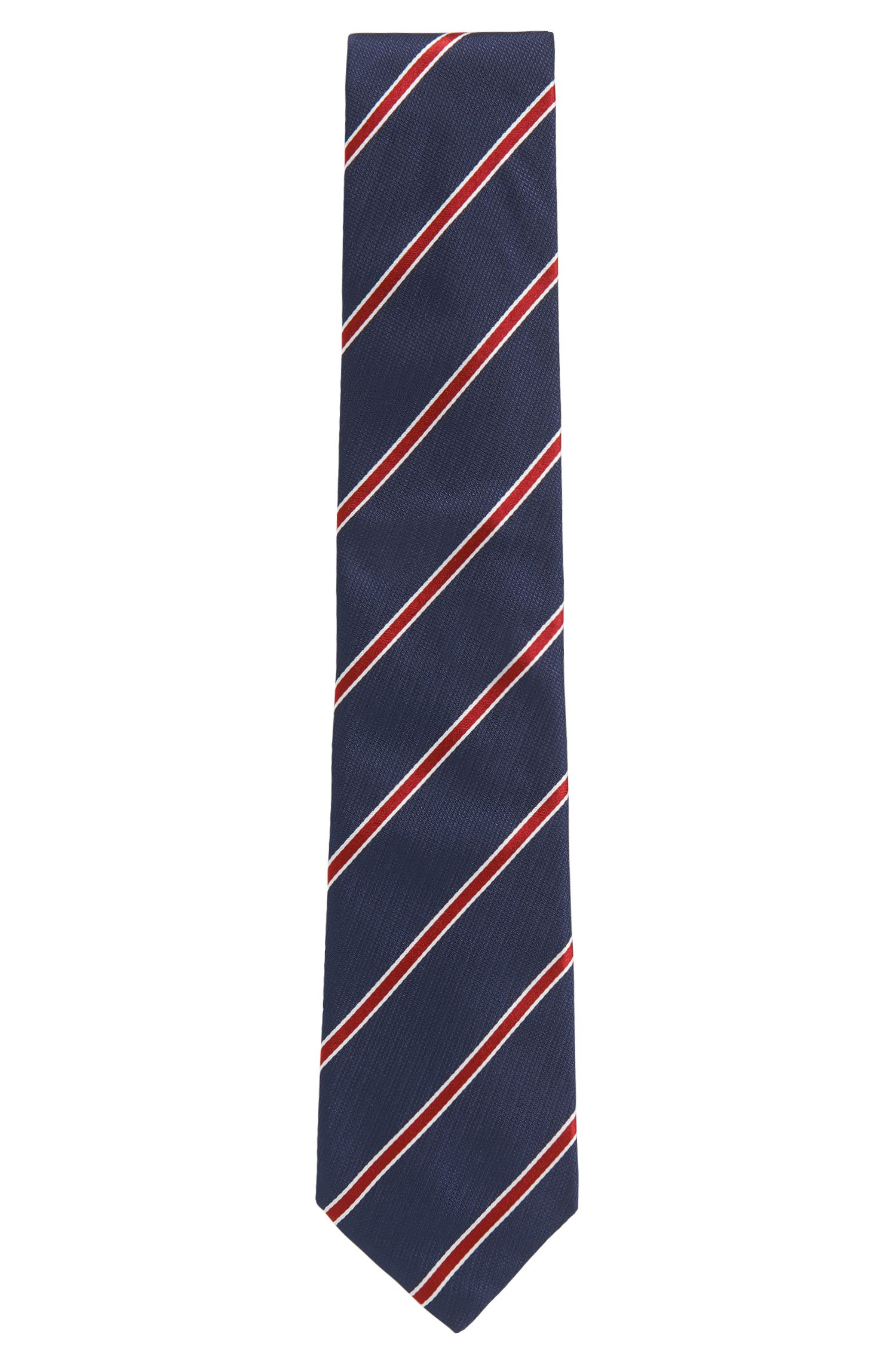 Yarn-dyed diagonal striped tie in silk jacquard