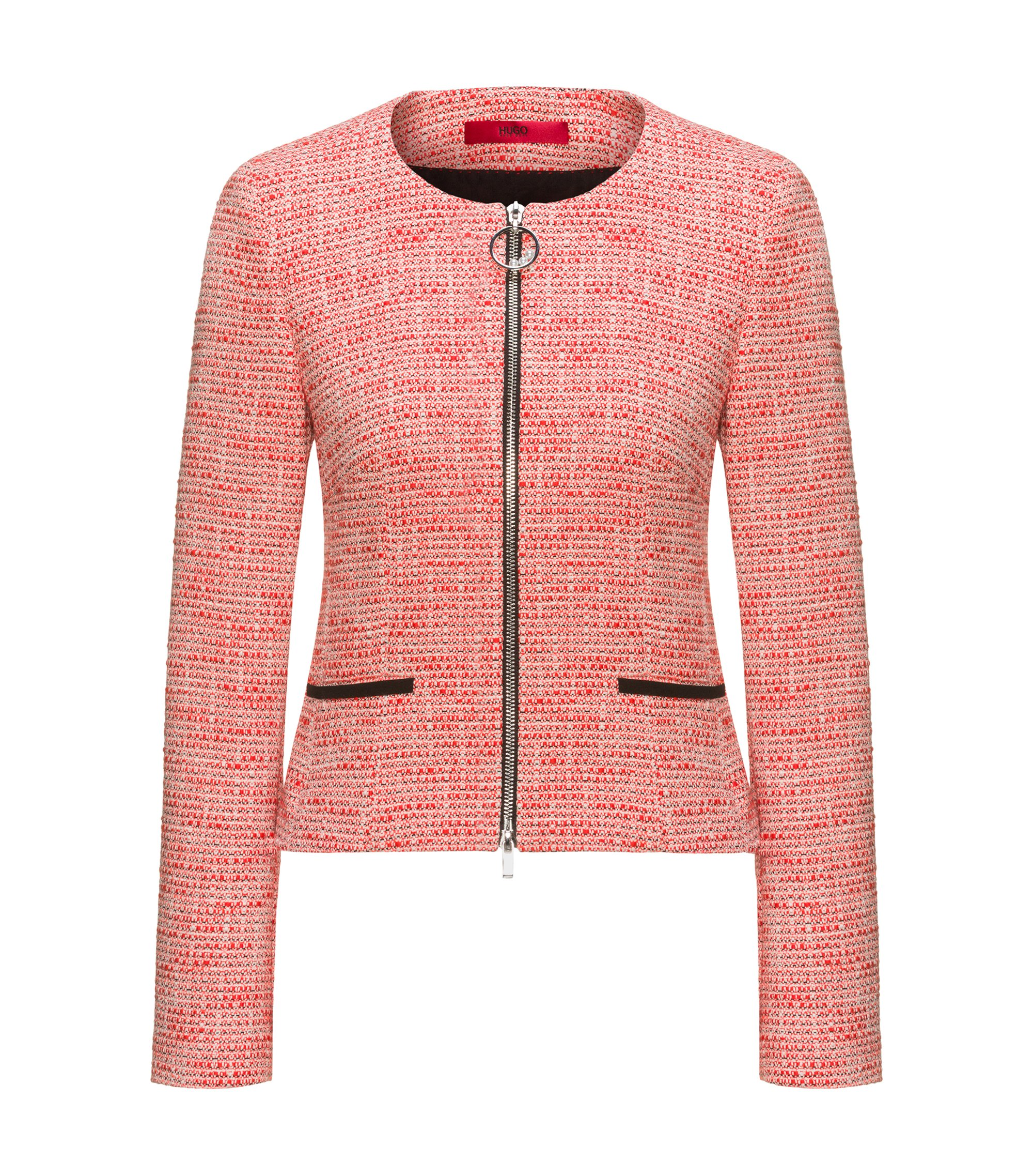 Regular-fit zip-through tweed jacket in a cotton blend, Patterned