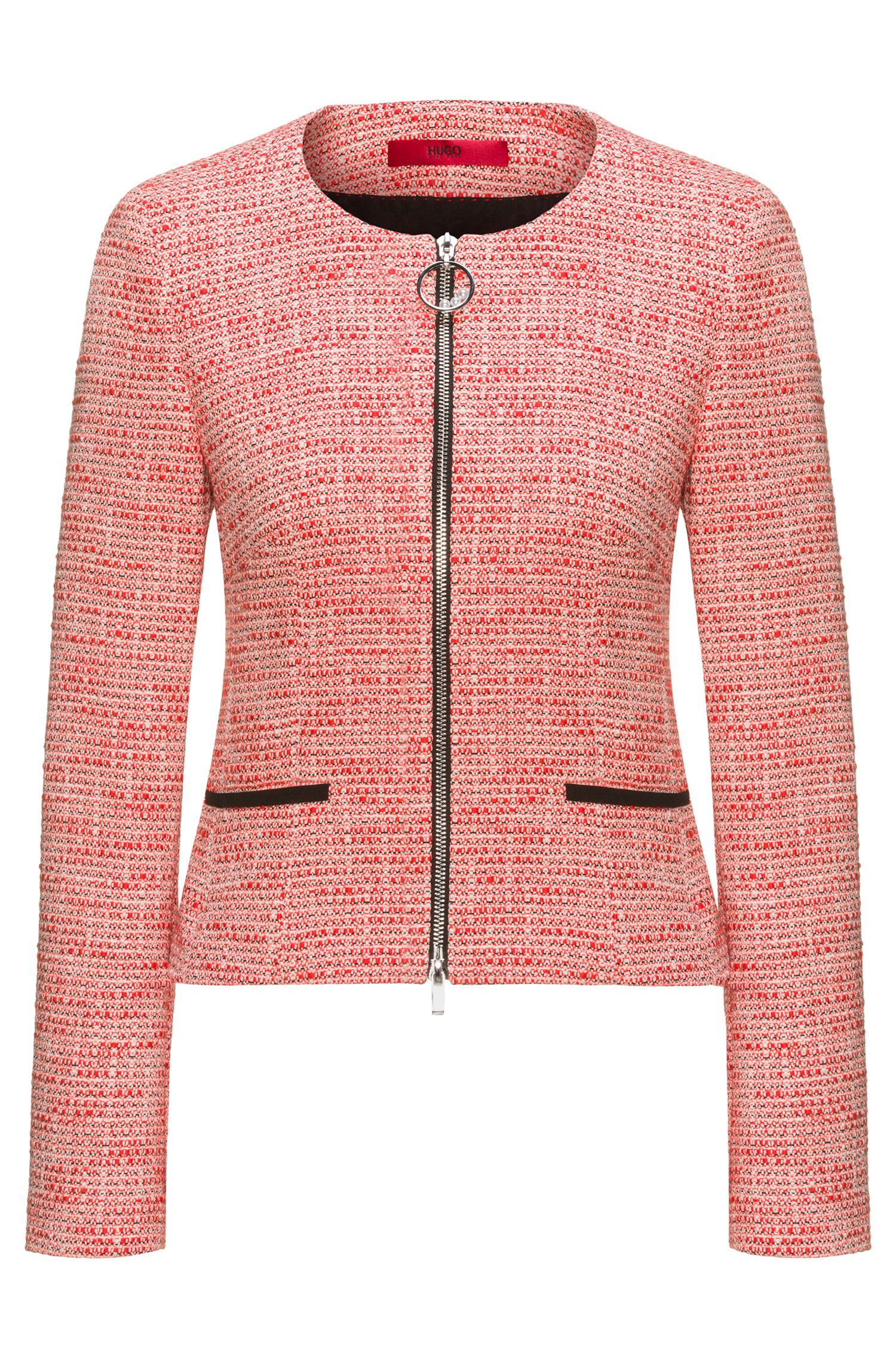 Veste zippée Regular Fit en tweed de coton mélangé