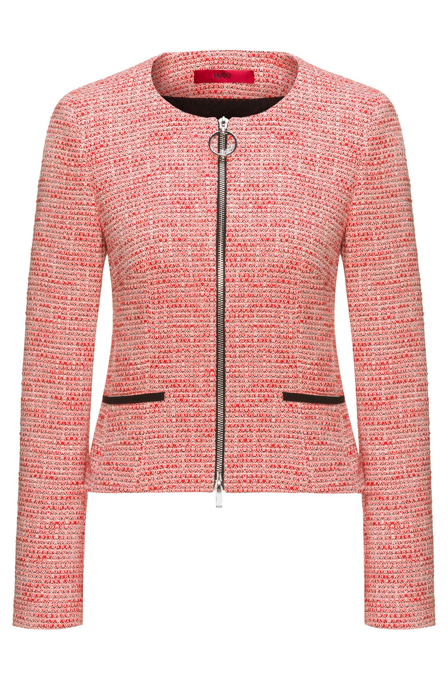 Regular-fit jasje van tweed in een katoenmix met doorlopende rits