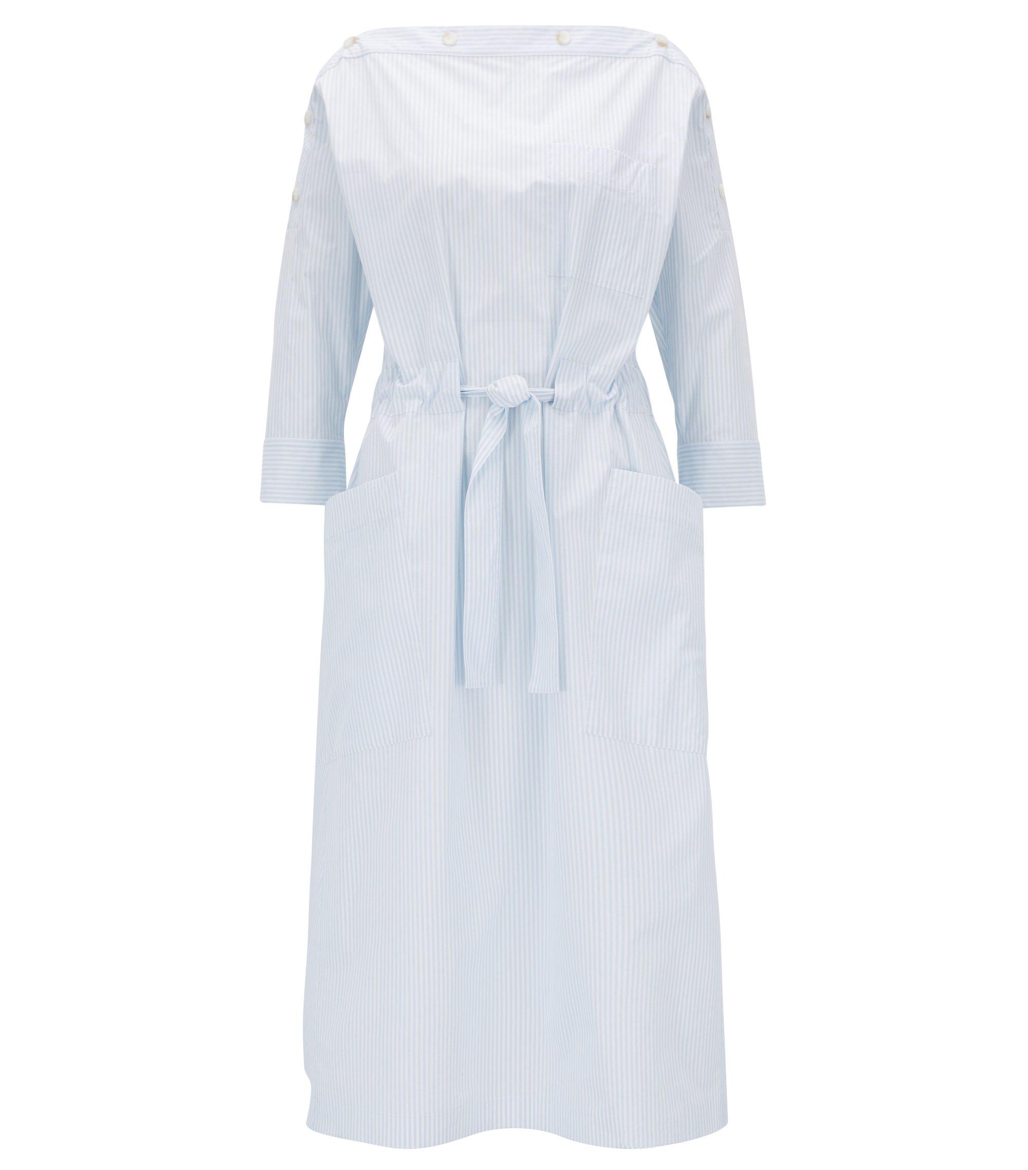 Button-neckline striped summer dress, Patterned