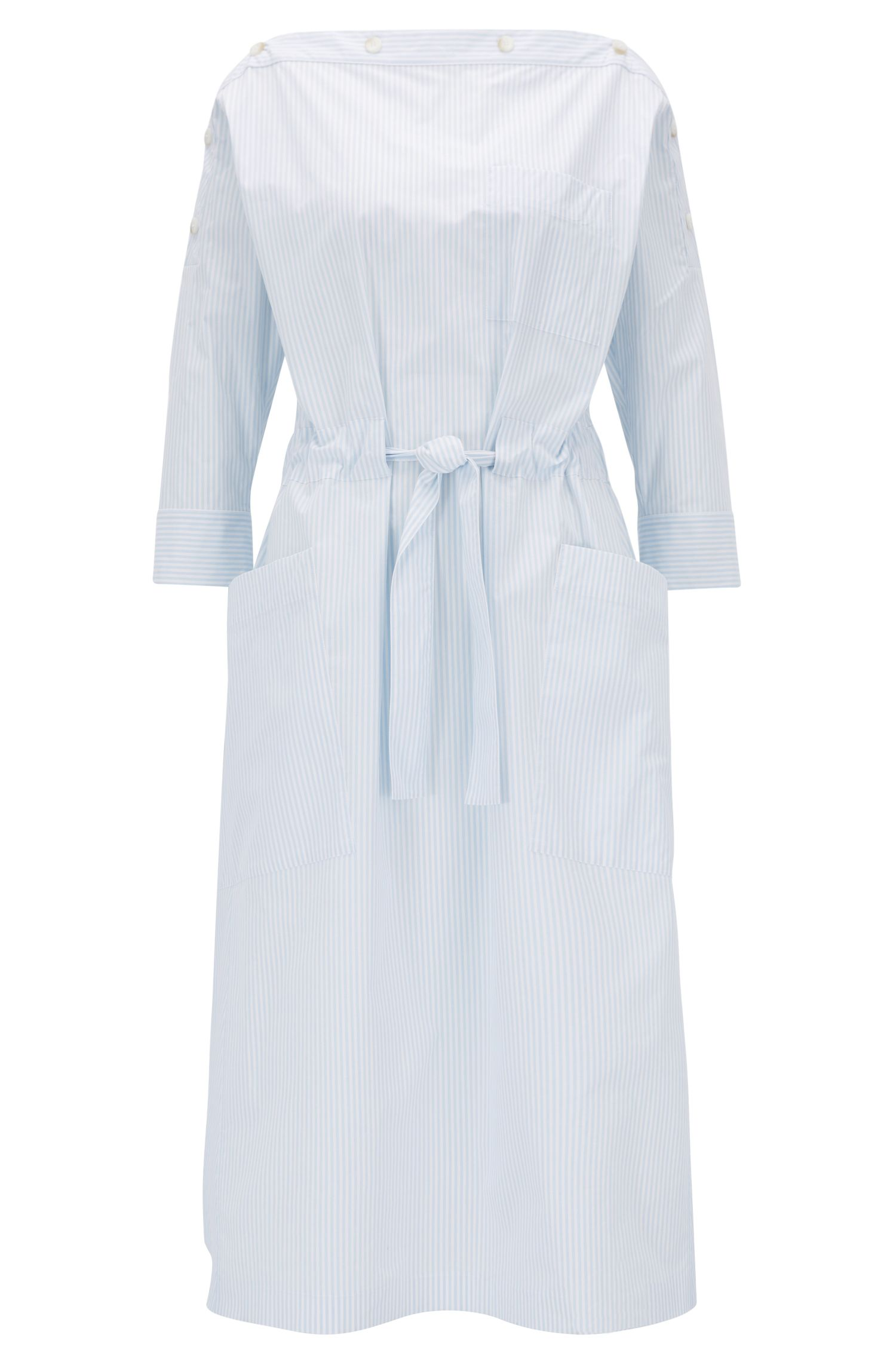 Button-neckline striped summer dress